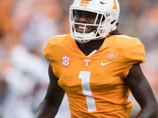 Tennessee wide receiver Marquez Callaway (1) after a play during the game against UTEP on Saturday, September 15, 2018.