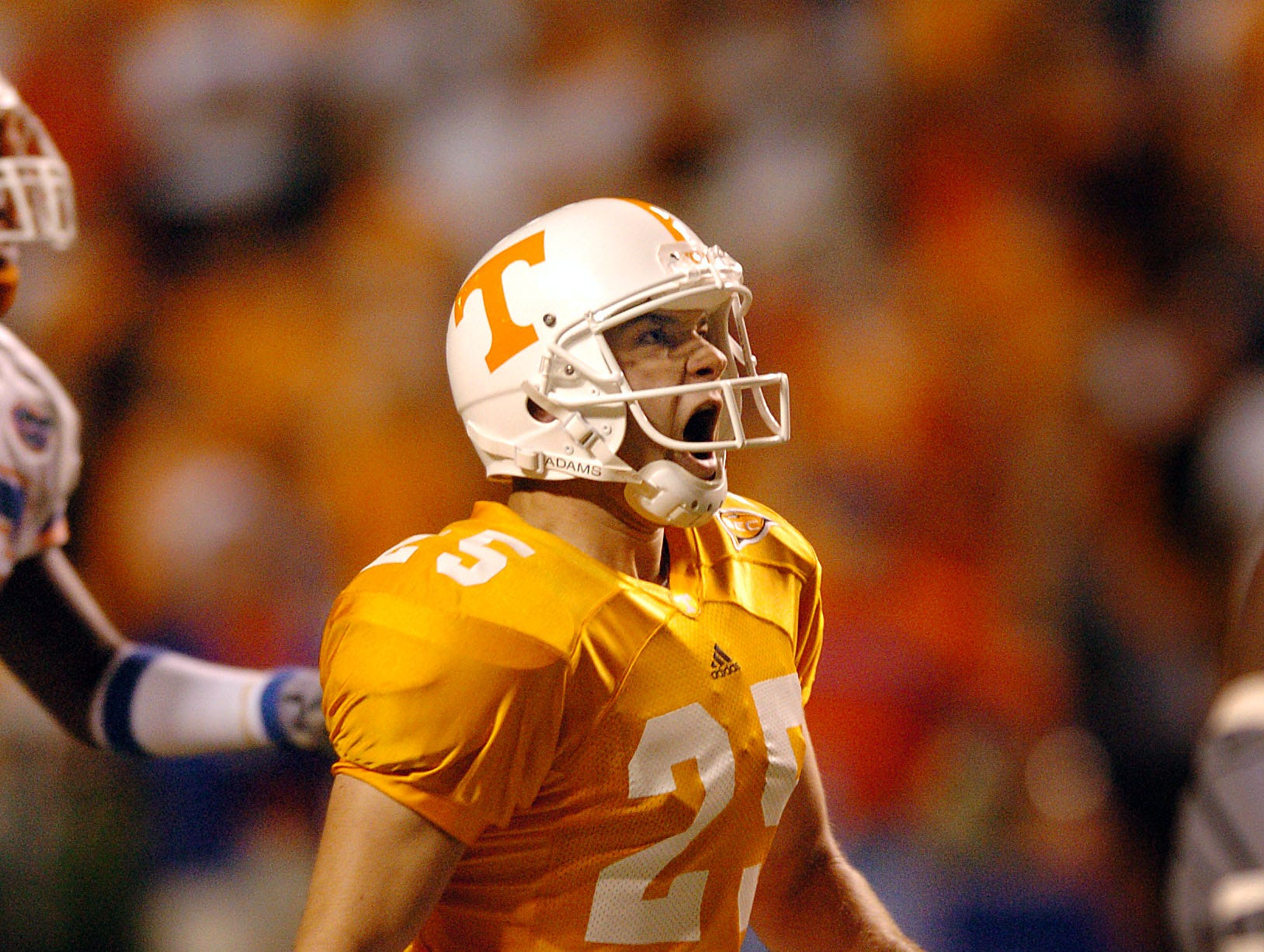 Tennessee's (25) James Wilhoit reacts the instant he sees that his 50-yard fieldgoal was good for the winning point Saturday night to beat Florida 30-28.  9/18/2004