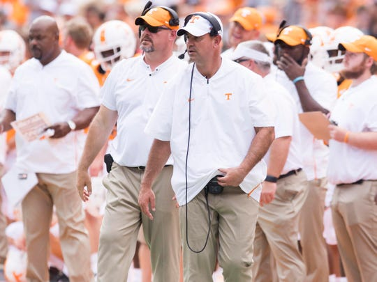 Tennessee Head Coach Jeremy Pruitt and Co-Defensive Coordinator Kevin Sherrer during the game against UTEP on Saturday, September 15, 2018.