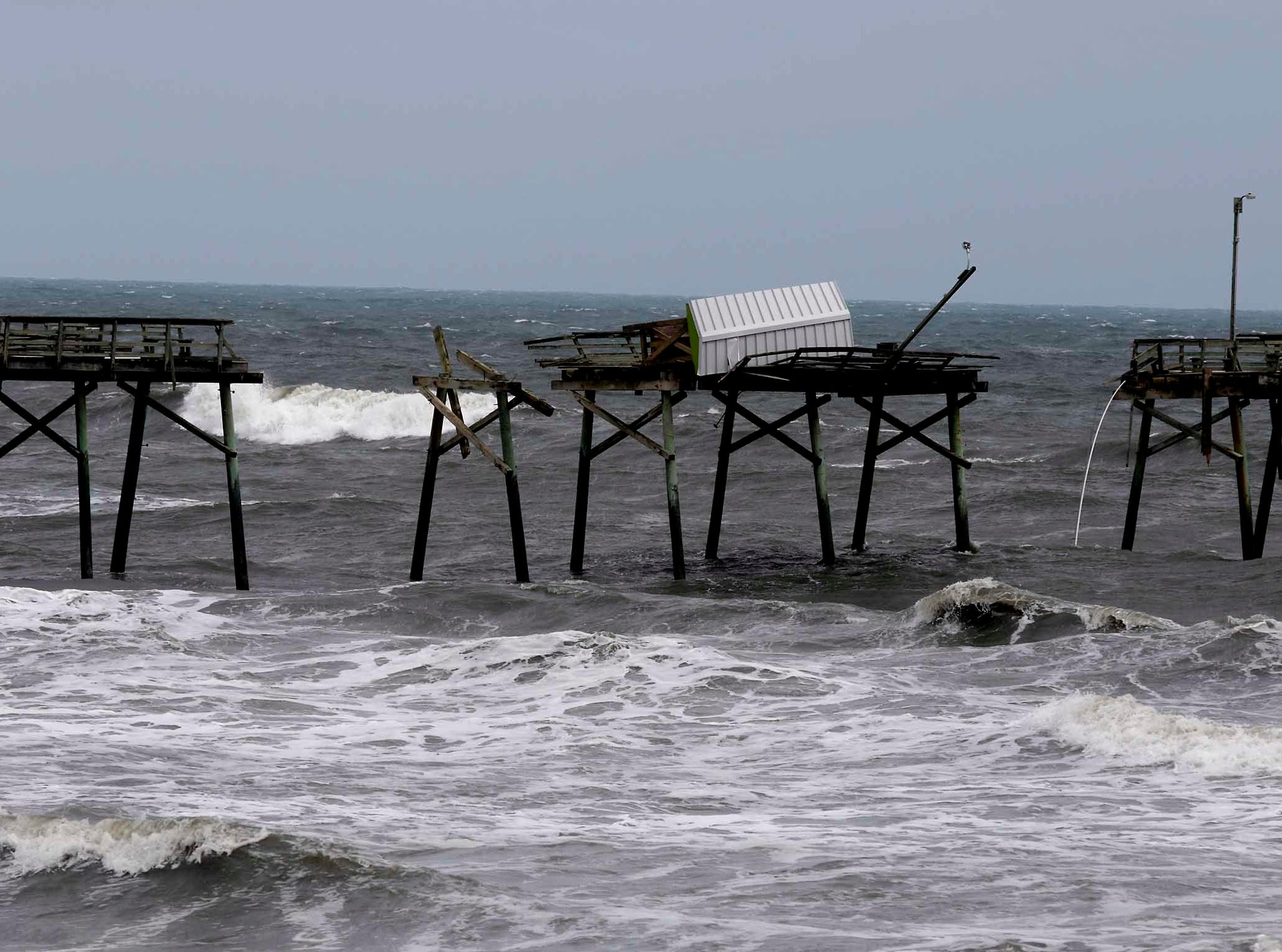 The damaged Bogue Inlet Fishing Pier after Hurricane Florence hit Emerald Isle N.C.,Sunday, Sept. 16, 2018.