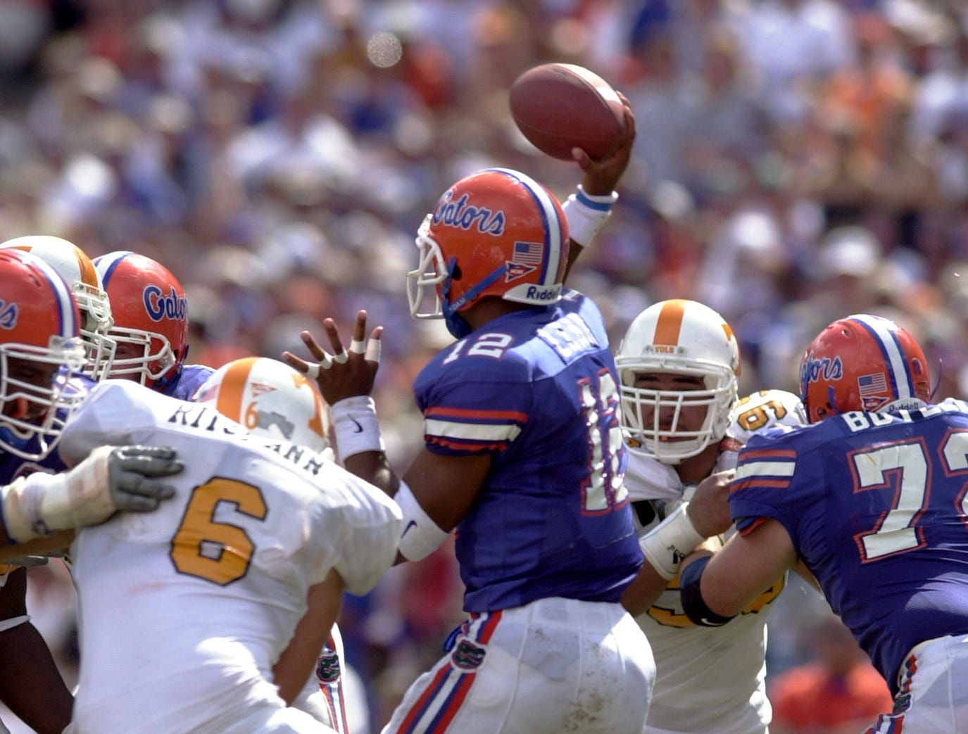 Florida's Chris Leak is pressured by Tennessee's Constantin Riztmann on Saturday in Gainsville.
