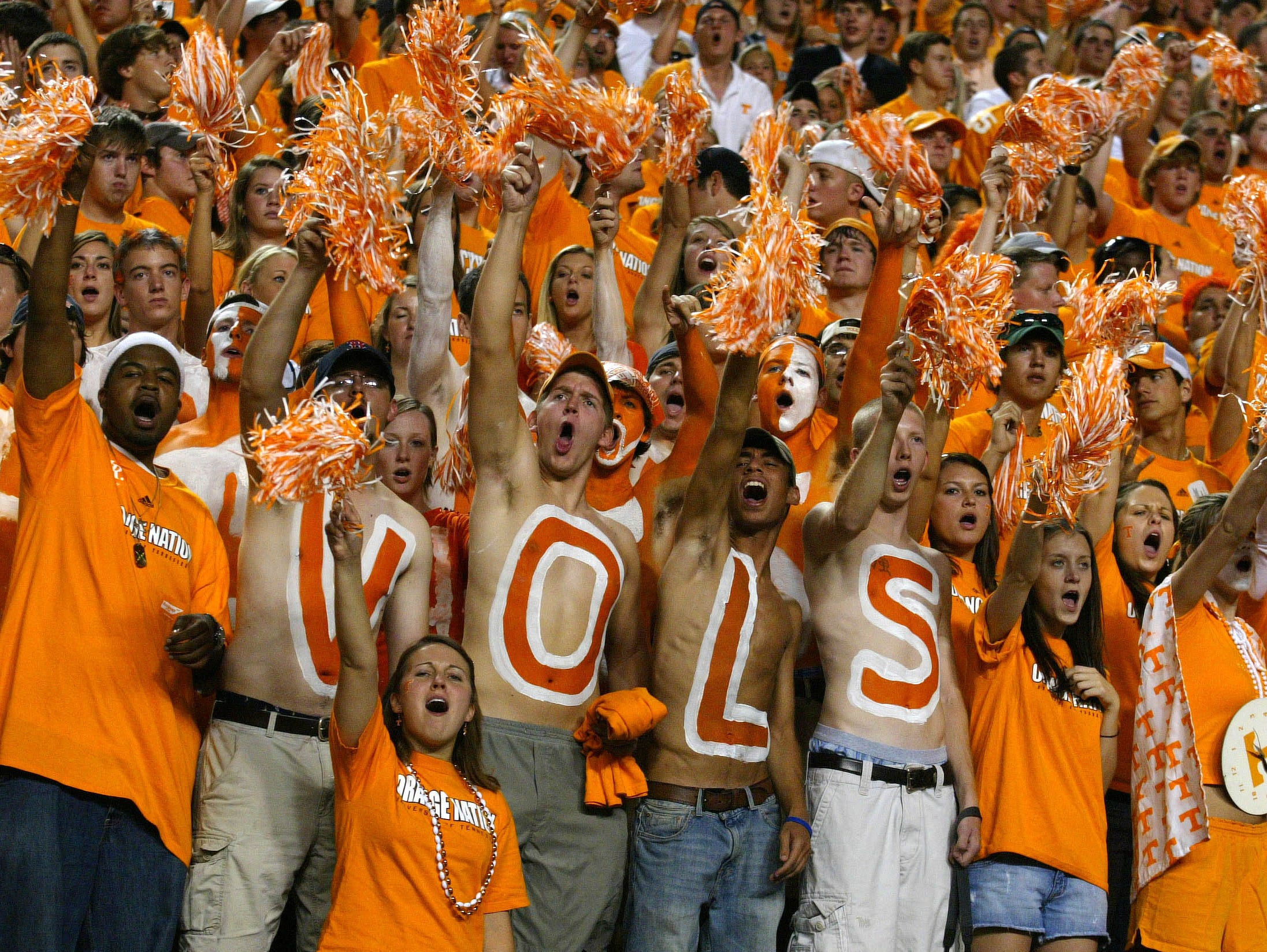 UT students cheer on the Volunteers against Florida on Saturday at Neyland Stadium. Tennessee's season record fell to 2-1 after the 21-20 loss.