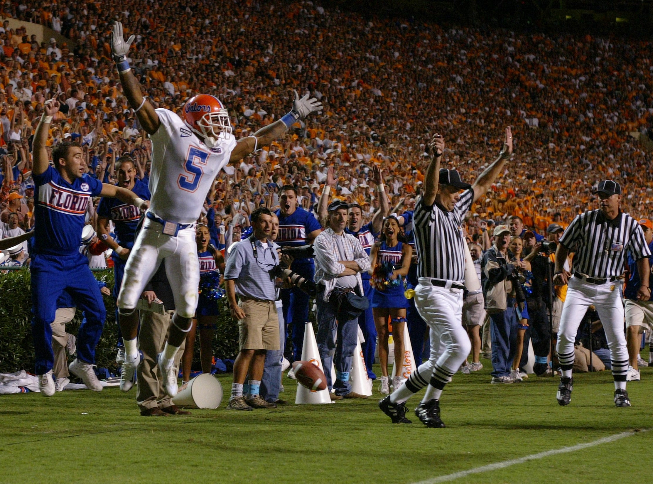 Florida's Andre Caldwell celebrates after making a 30-yard pass reception and run against Tennessee Saturday at Neyland Stadium. The play carried the ball inside the Tennessee one-yard line and the Gators scored a touchdown on the next play. Tennessee won the game 30-28. 2004.
