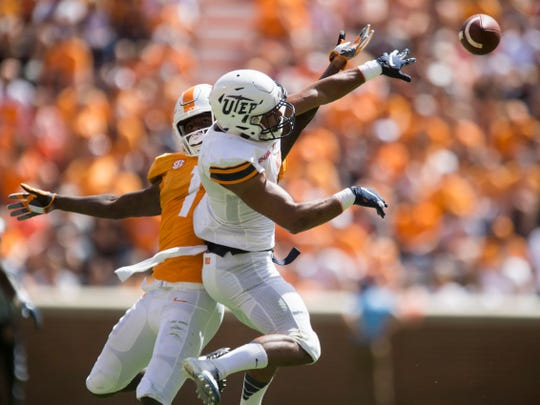 UTEP defensive back Nik Needham (5) breaks up a pass intended for Tennessee wide receiver Marquez Callaway (1) on Saturday, September 15, 2018.
