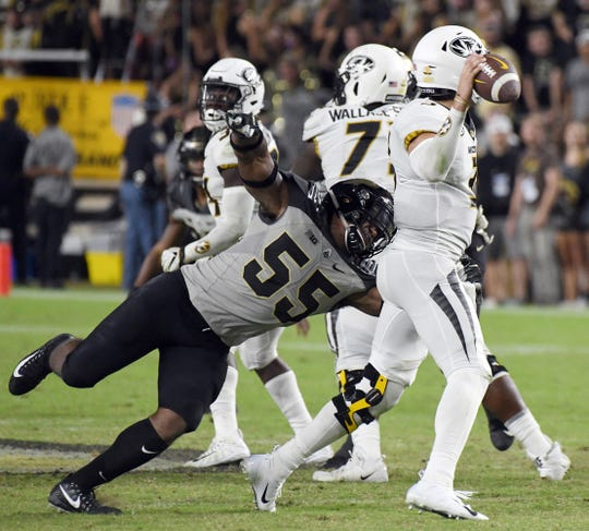 Purdue linebacker Derrick Barnes sacks Missouri quarterback Drew Lock in the second half Saturday, September 15, 2018, in West Lafayette. Purdue lost 40-37 on a Missouri field goal as time expired.
