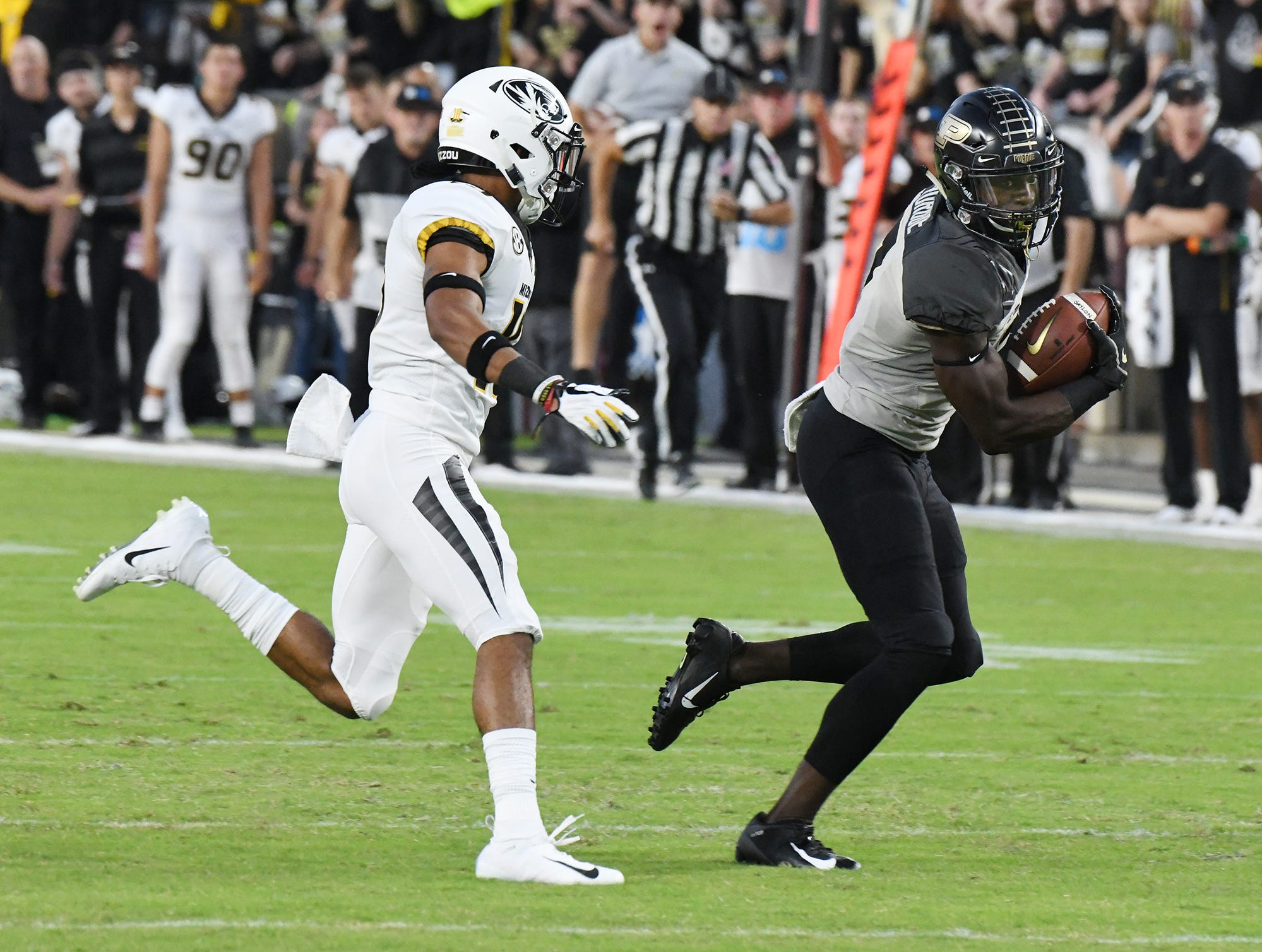 Isaac Zico of Purdue with a first half pass reception against Missouri Saturday, September 15, 2018, in West Lafayette.