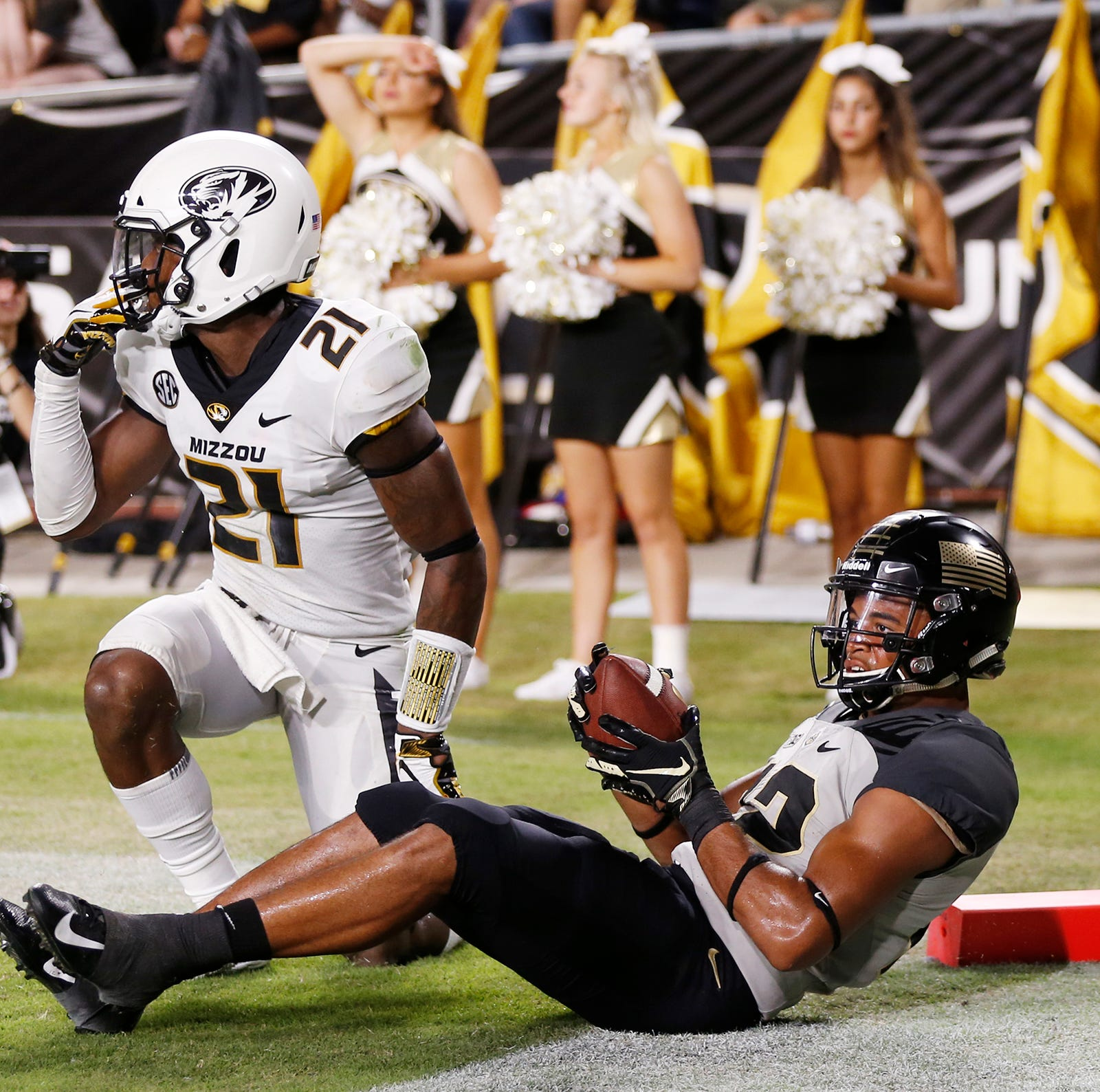 Jared Sparks of Purdue with catch that appeared to be good for a touchdown late in the fourth quarter against Missouri Saturday, September 15, 2018, in West Lafayette. Upon review, officials said Sparks did not have control of the ball, and the touchdown was negated. Purdue lost 40-37 on a Missouri field goal as time expired.