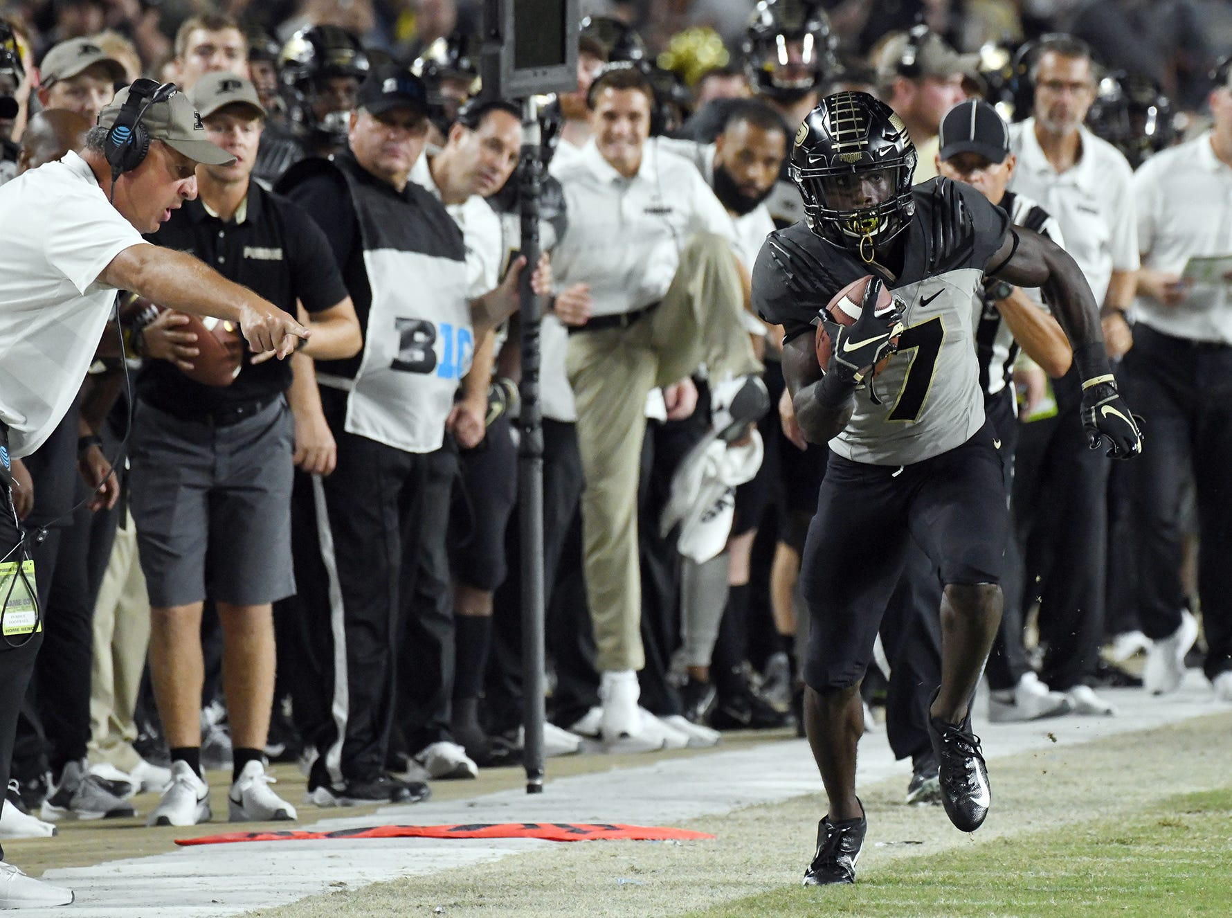 Isaac Zico of Purdue steps out of bounds on a long pass reception against Missouri in the second half Saturday, September 15, 2018, in West Lafayette. Purdue lost 40-37 on a Missouri field goal as time expired.