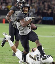 Rondale Moore of Purdue with a pass reception in the second half against Missouri.