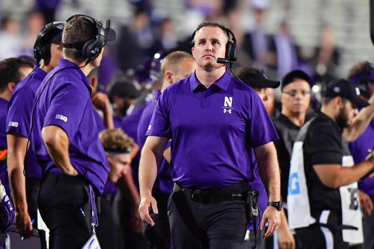 Sep 15, 2018; Evanston, IL, USA; Northwestern Wildcats head coach Pat Fitzgerald looks on in the second half against the Akron Zips at Ryan Field. Mandatory Credit: Quinn Harris-USA TODAY Sports