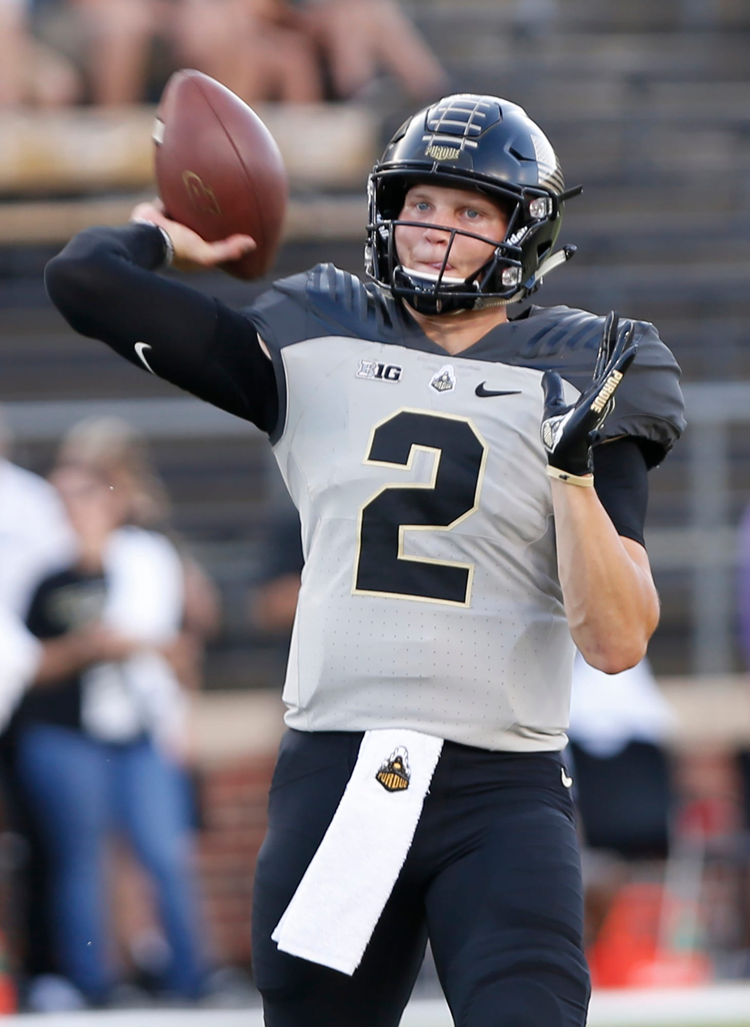 Quarterback Elijah Sindelar warms up before Purdue host Missouri Saturday, September 15, 2018, in West Lafayette. Purdue lost 40-37 on a Missouri field goal as time expired.