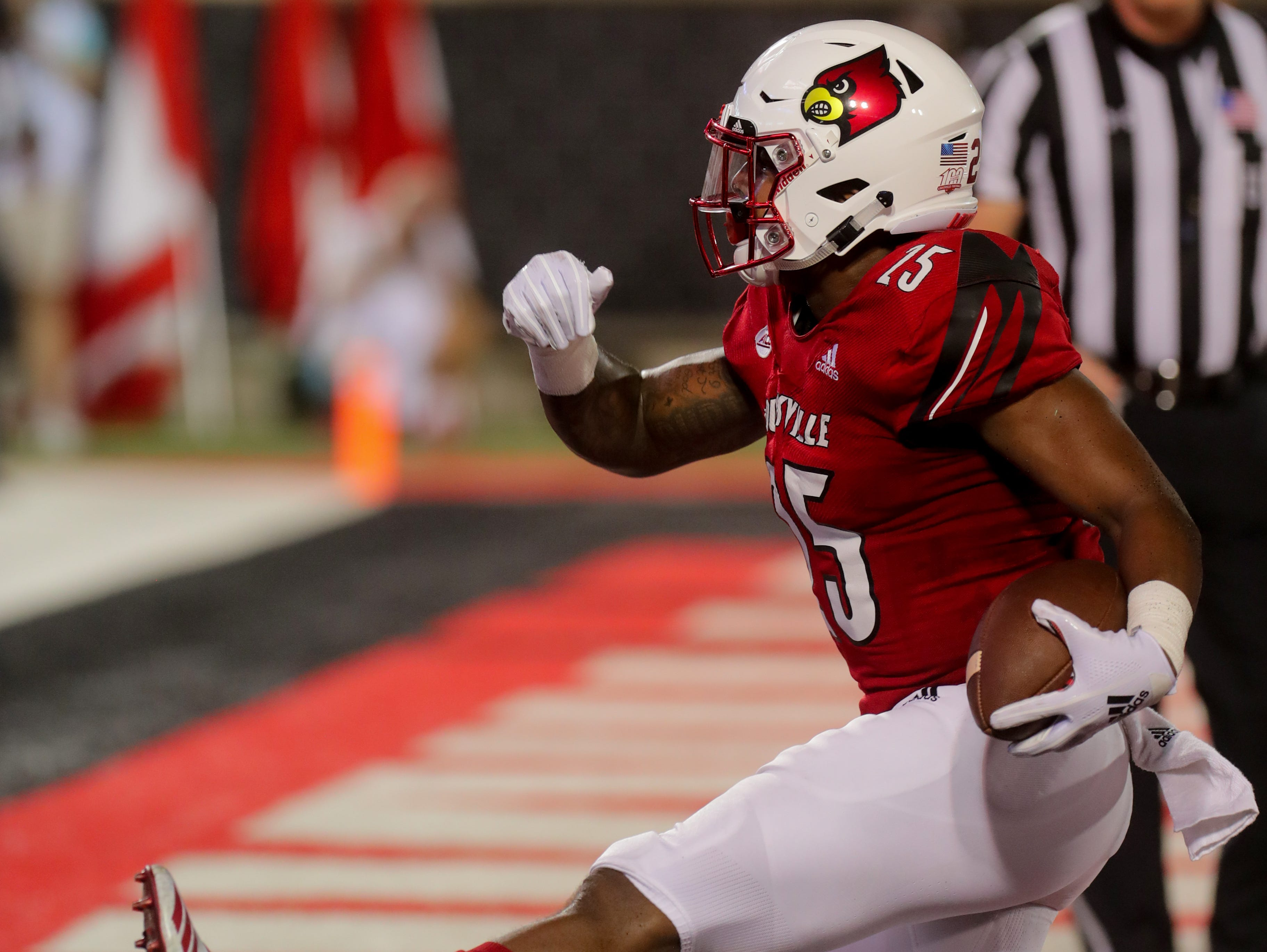 Louisville's Dae Williams scores his second touchdown of the night. 