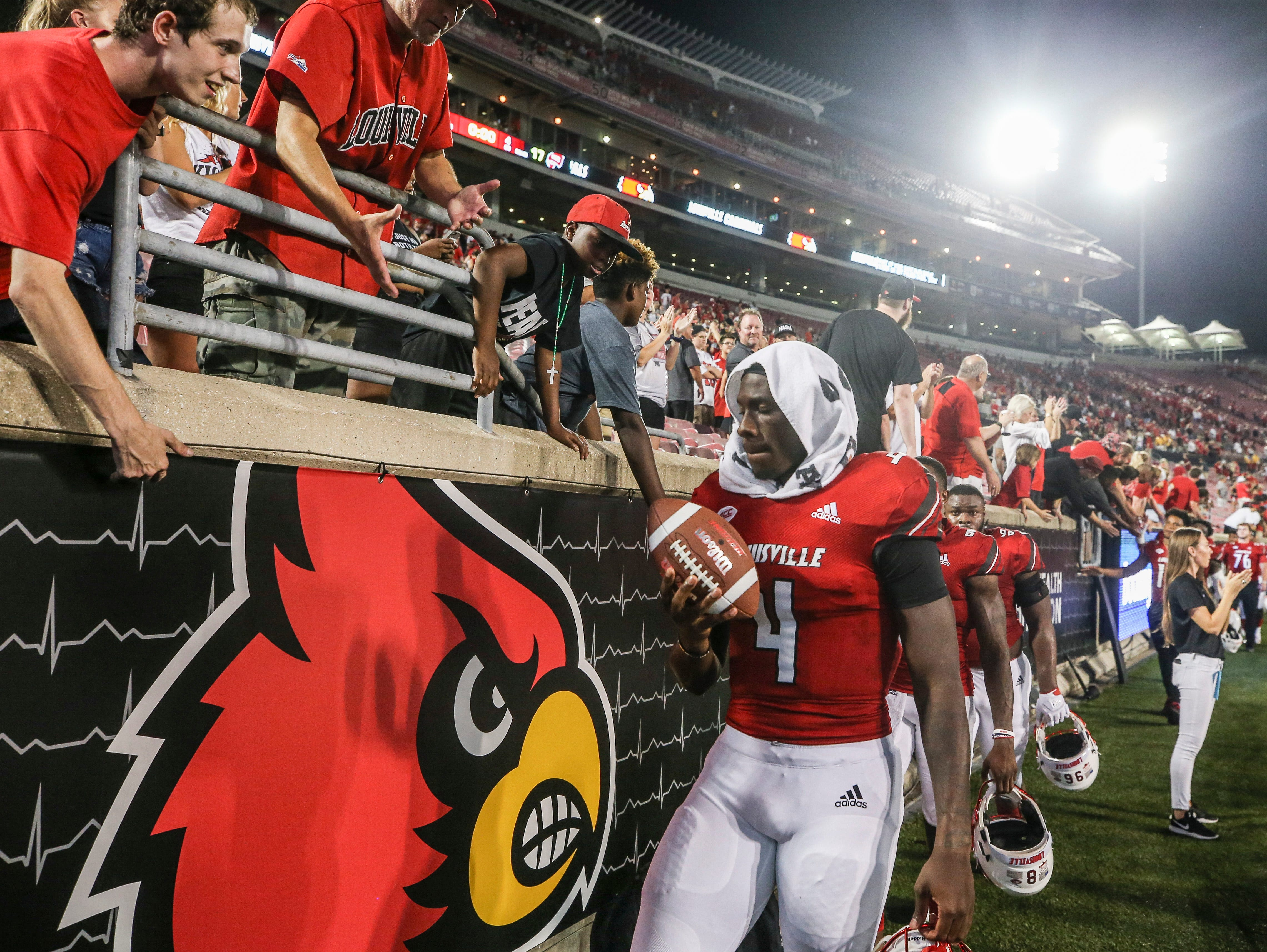 Louisville's Jawon Pass only had three attempts with one interception and a sack in the Western Kentucky game at Cardinal Stadium Saturday, Sept. 15, 2018.