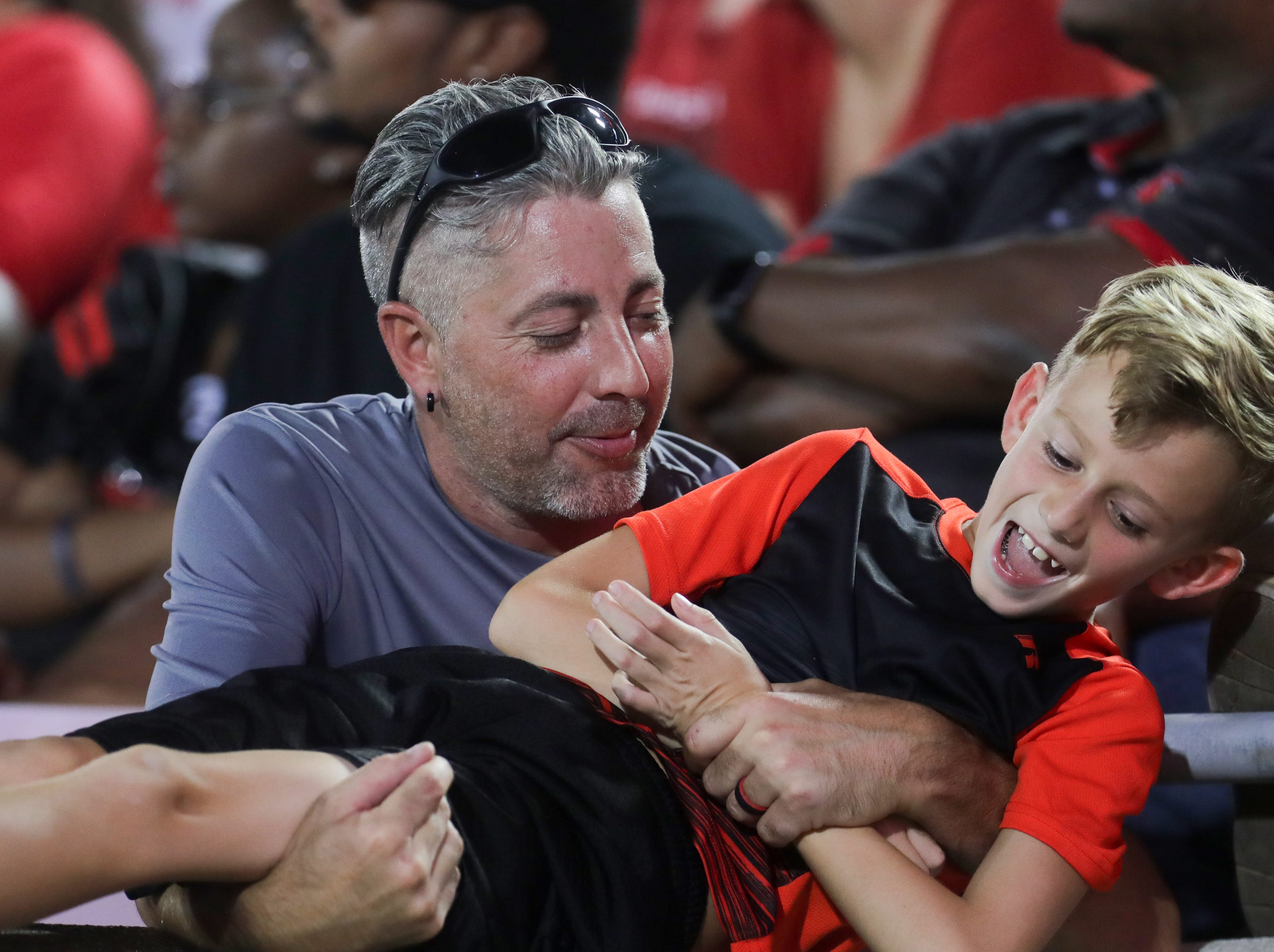 Louisville fans having a little fun in between plays. Sept. 15, 2018