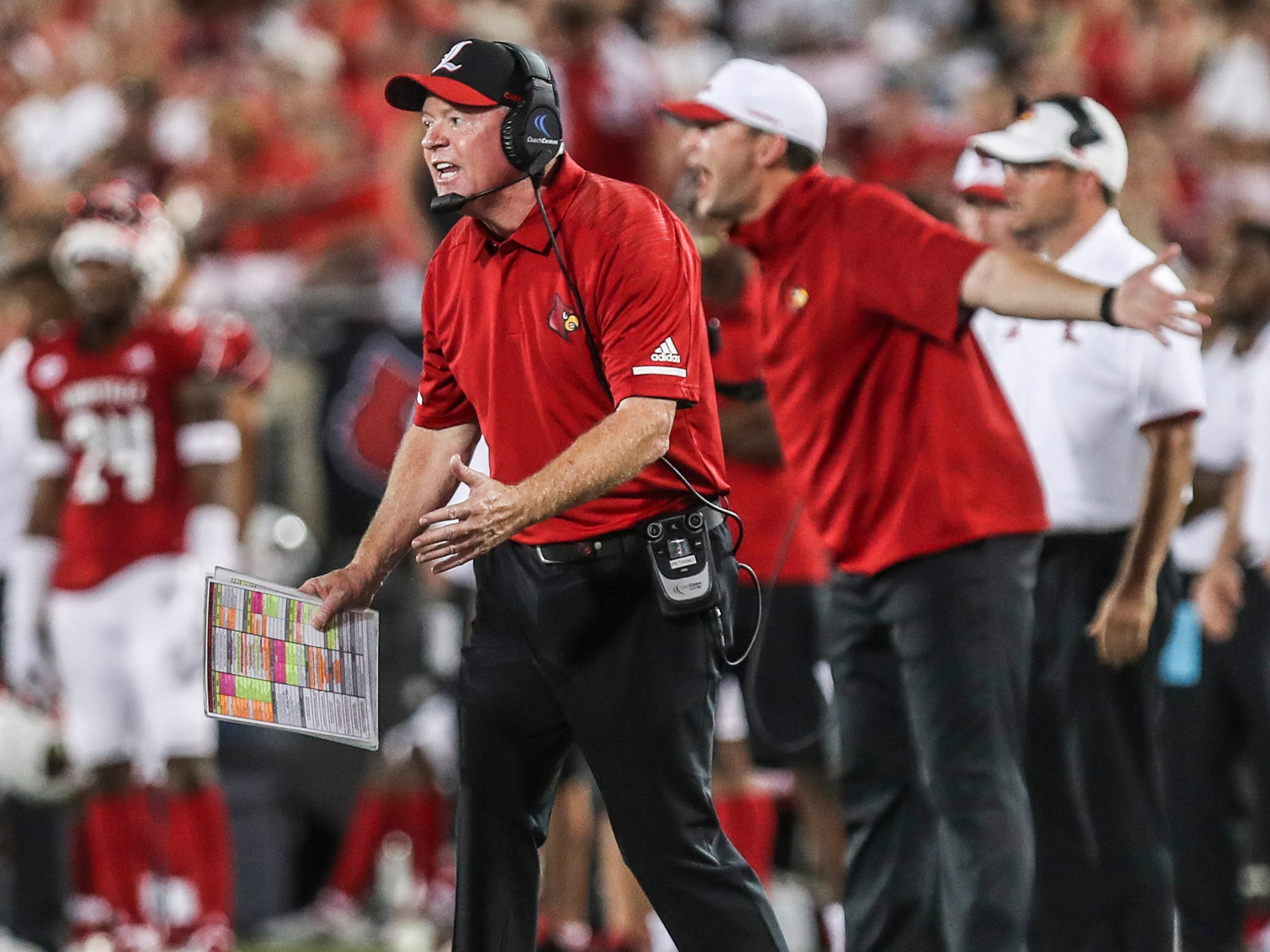Louisville's Bobby Petrino was upset in the first half as visiting Western Kentucky went up 14-0 on the Cardinals Saturday, Sept. 15, 2018.