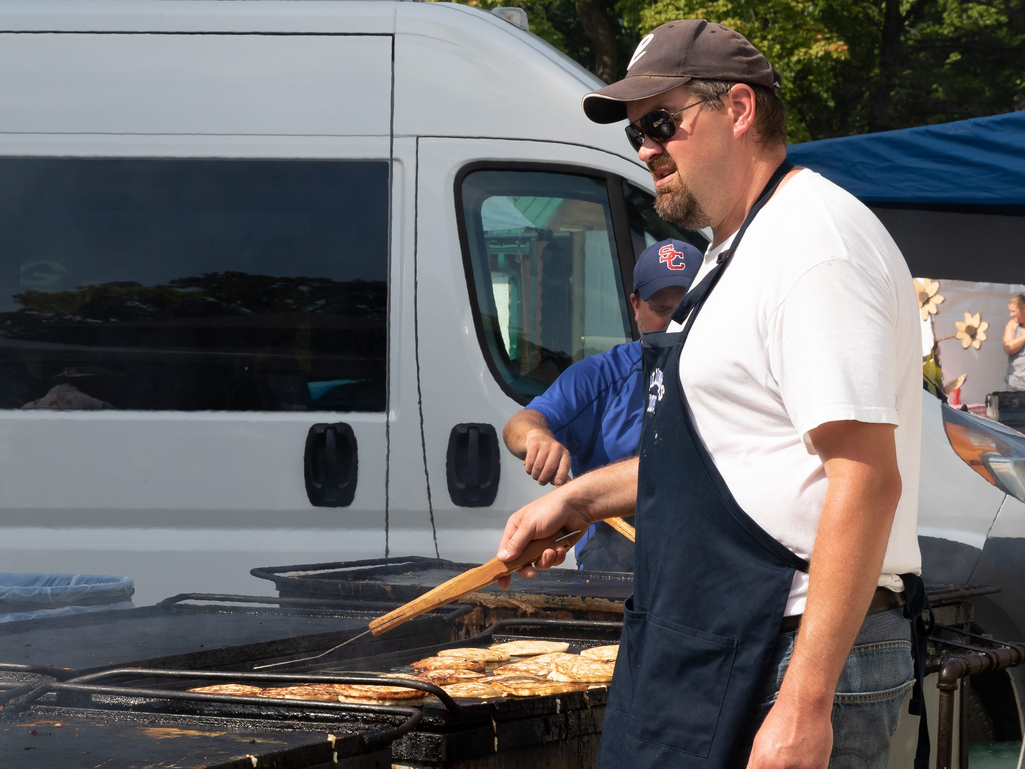 Pancakes are on the griddle during Maple Fall Fest on Sunday, Sept. 16, 2018, at Wildwood Park in Marshfield.