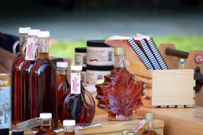 A vendor table at Maple Fall Fest at Wildwood Park in Marshfield.