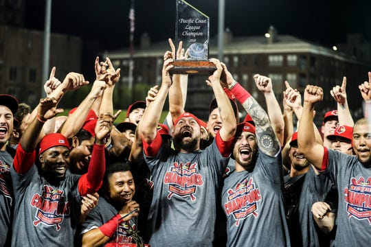September 15 2018 - Redbirds players celebrate at AutoZone park after winning Saturday's Pacific Coast League Championship game against the Fresno Grizzlies.