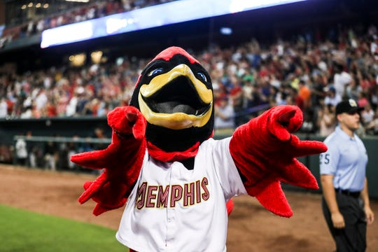 September 15 2018 - Rockey The Redbird celebrates after Saturday's Pacific Coast League Championship game against the Fresno Grizzlies at AutoZone Park. The Memphis Redbirds topped Fresno 5-0.