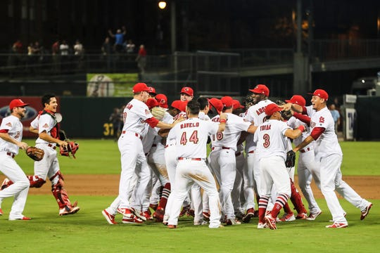 September 15 2018 - The Redbirds rush the field after winning Saturday's Pacific Coast League Championship game against the Fresno Grizzlies at AutoZone Park.