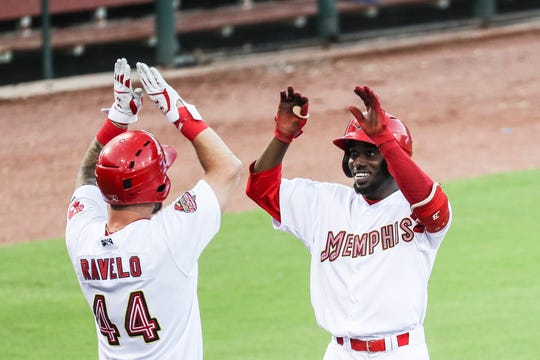 September 15 2018 - Rangel Ravelo left, and Randy Arozarena, right, celebrate after Arozarena hit a three-run home run during Saturday's Pacific Coast League Championship game against the Fresno Grizzlies at AutoZone Park.
