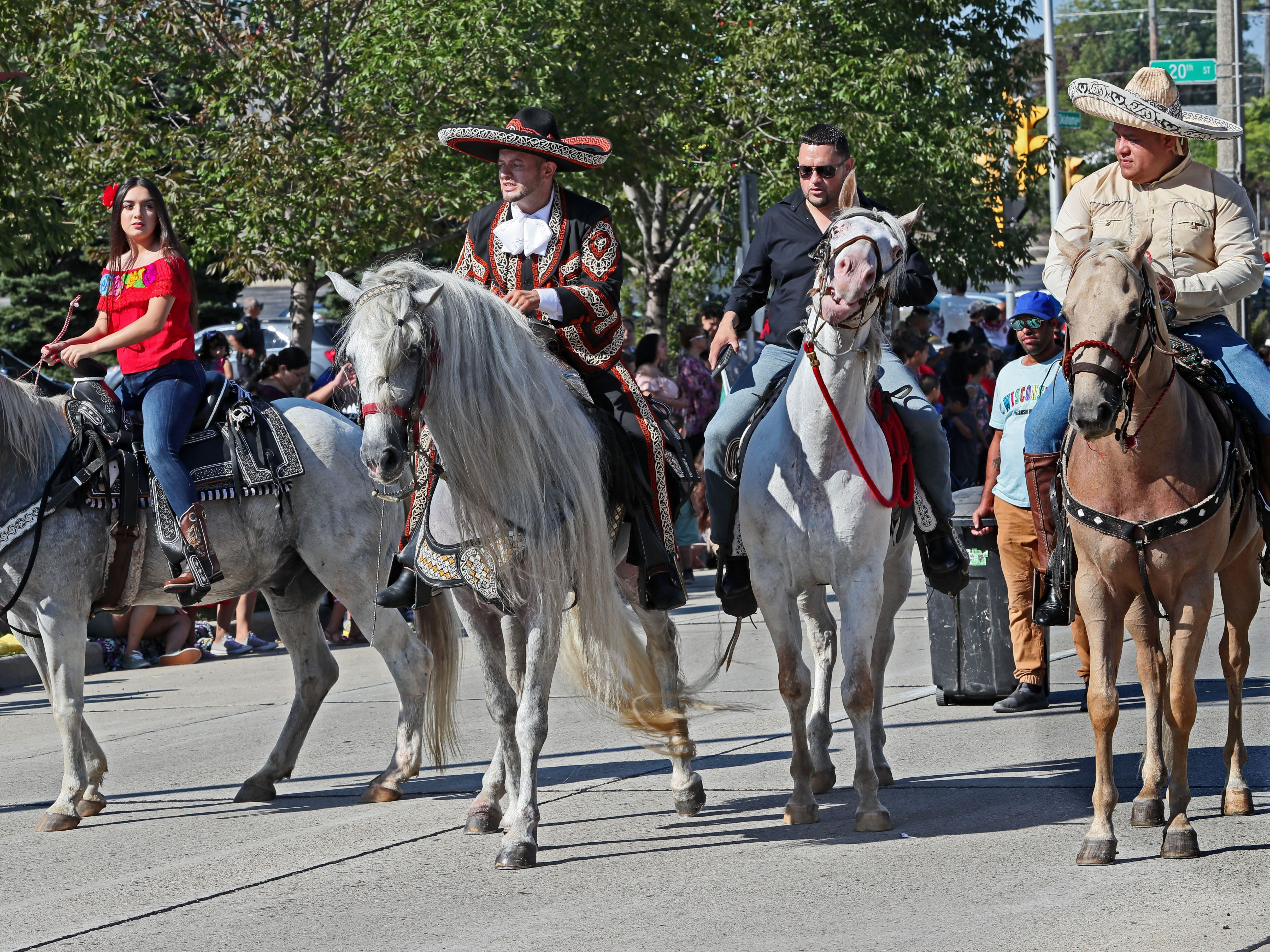 Riders on horseback take part in the Mexican Independence Parade on Sunday.
