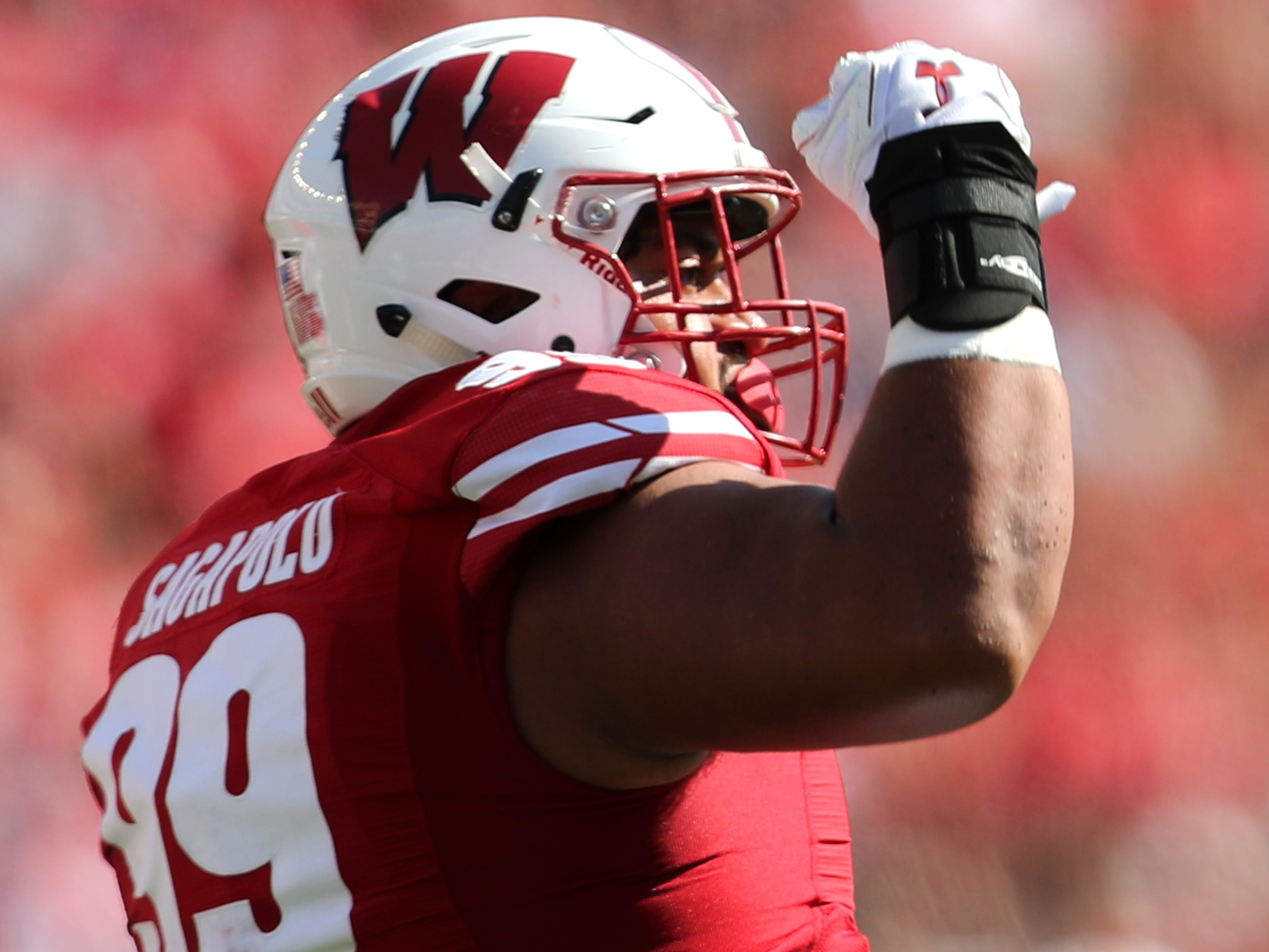 Wisconsin Badgers nose tackle Olive Sagapolu celebrates after a sack.