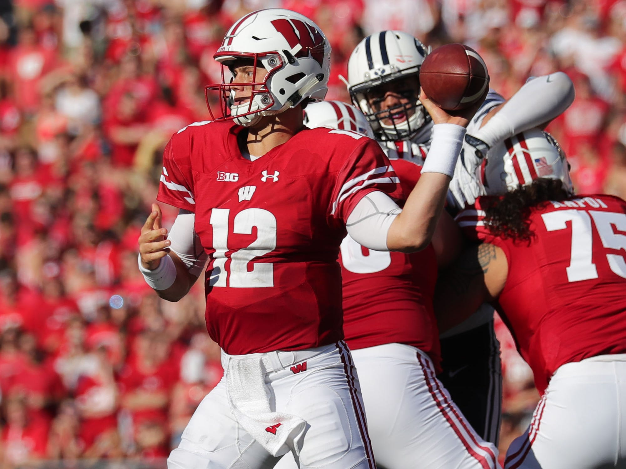 Wisconsin quarterback Alex Hornibrook looks to pass against BYU at Camp Randall Stadium.