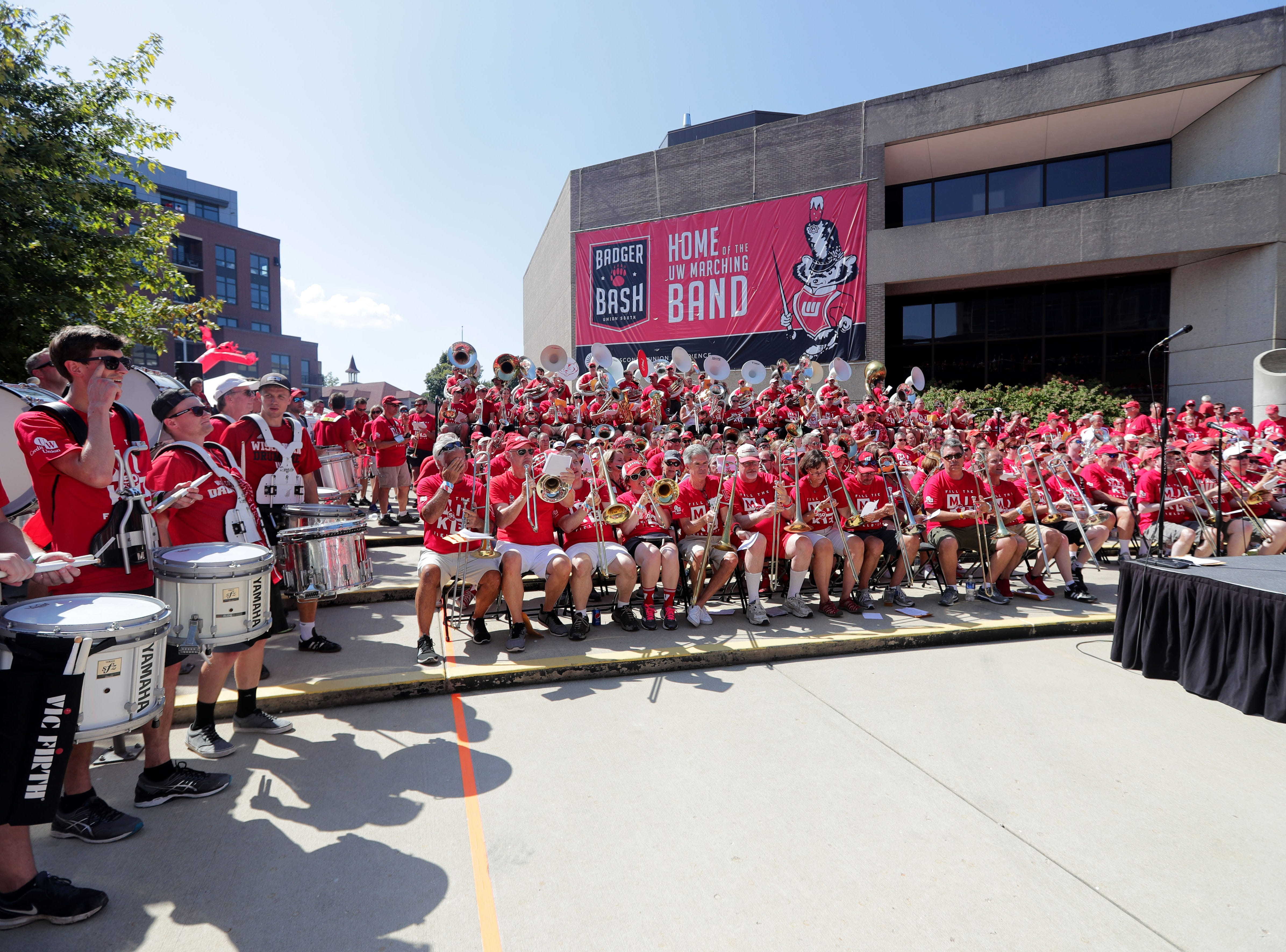 The UW alumni marching band performs at Union South Before the Wisconsin Badgers game against BYU Cougars Saturday, September 15, 2018 at Camp Randall Stadium in Madison, Wis. -  Photo by
