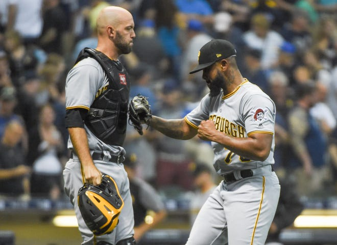 Felipe Vazquez celebrates with Pittsburgh Pirates catcher Jacob Stallings after picking up a save.