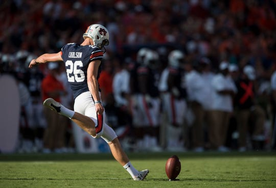 Auburn's Anders Carlson (26) kicks off against LSU at Jordan-Hare Stadium in Auburn, Ala., on Saturday, Sept. 15, 2018. LSU defeated Auburn 22-21.