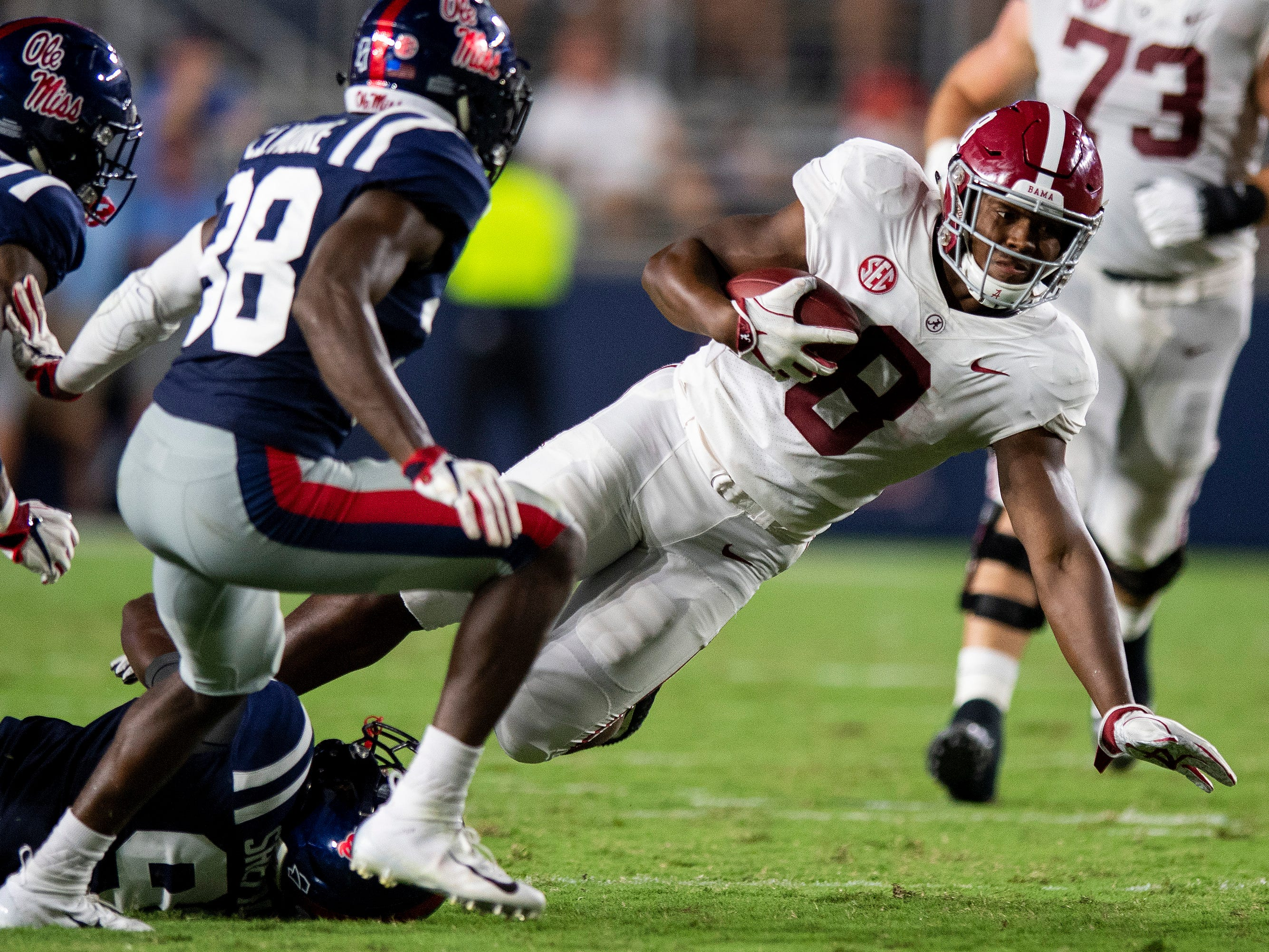 Alabama running back Josh Jacobs (8) carries against Ole Miss In first half action in Oxford, Ms., on Saturday September 15, 2018.
