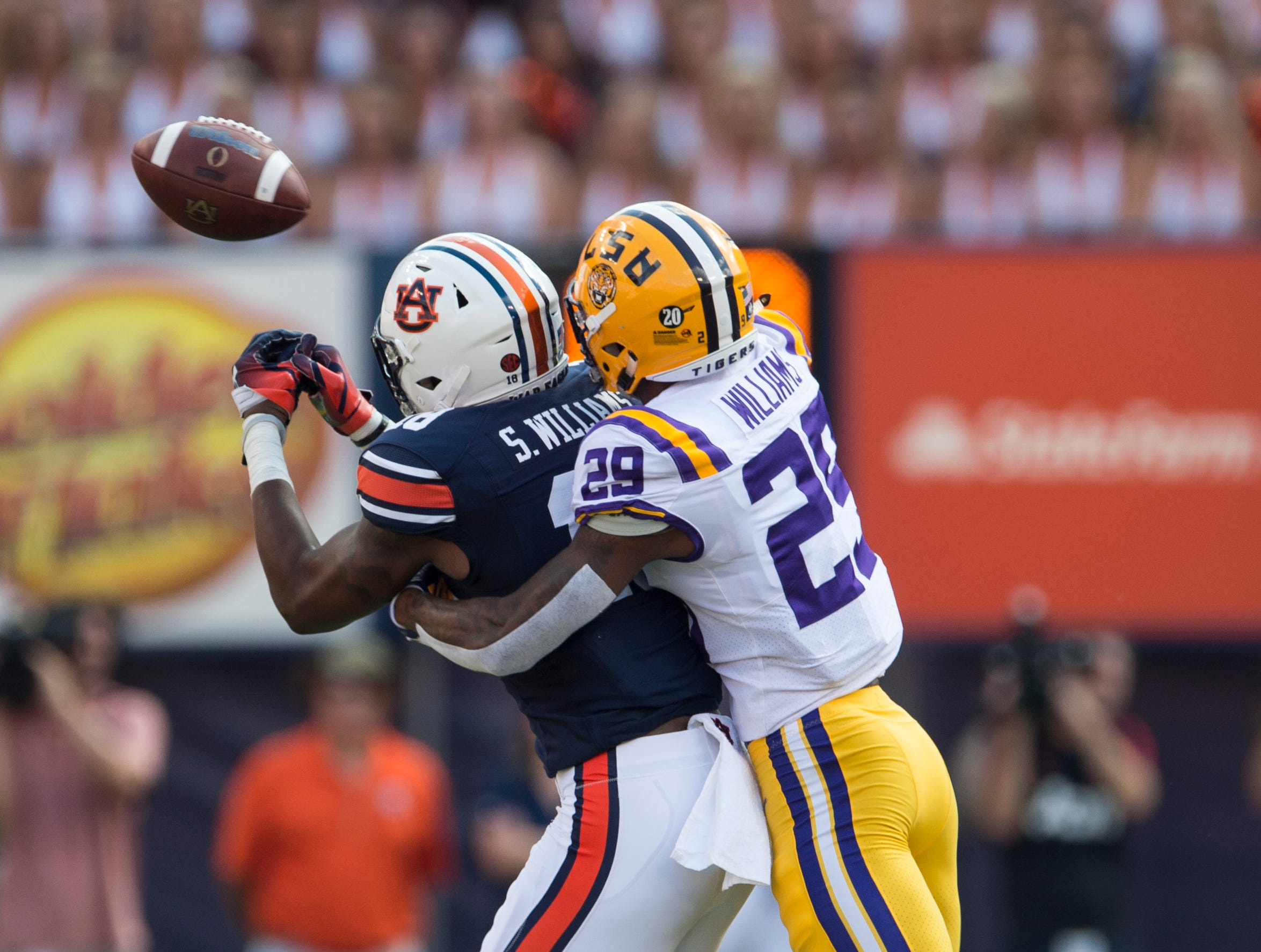 Auburn's Seth Williams (18) misses a catch guarded by LSU's Greedy Williams (29) at Jordan-Hare Stadium in Auburn, Ala., on Saturday, Sept. 15, 2018. LSU defeated Auburn 22-21.