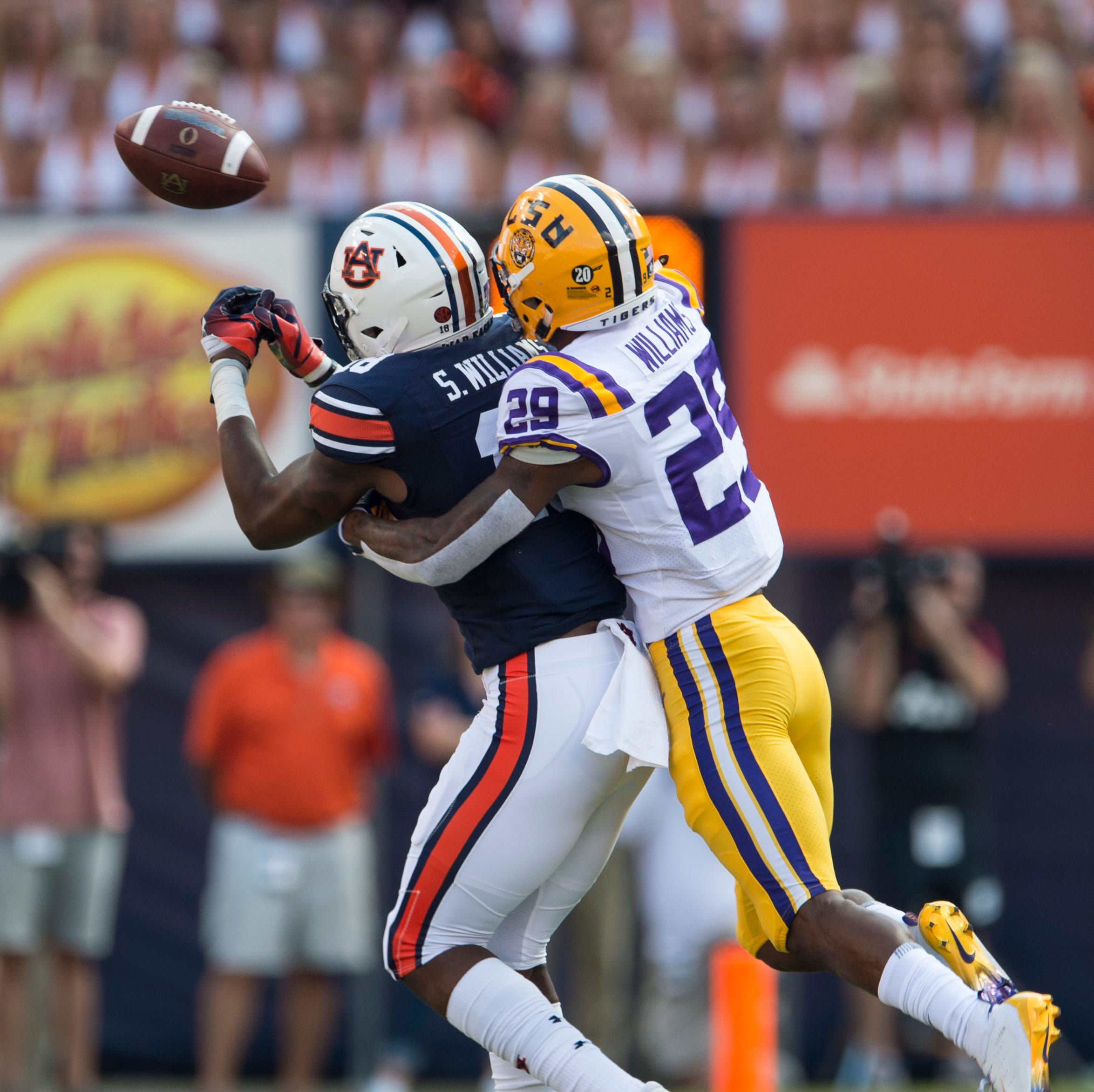 Auburn's Seth Williams (18) misses a catch guarded by LSU's Greedy Williams (29) at Jordan-Hare Stadium in Auburn, Ala., on Saturday, Sept. 15, 2018. LSU defeated Auburn 22-21.