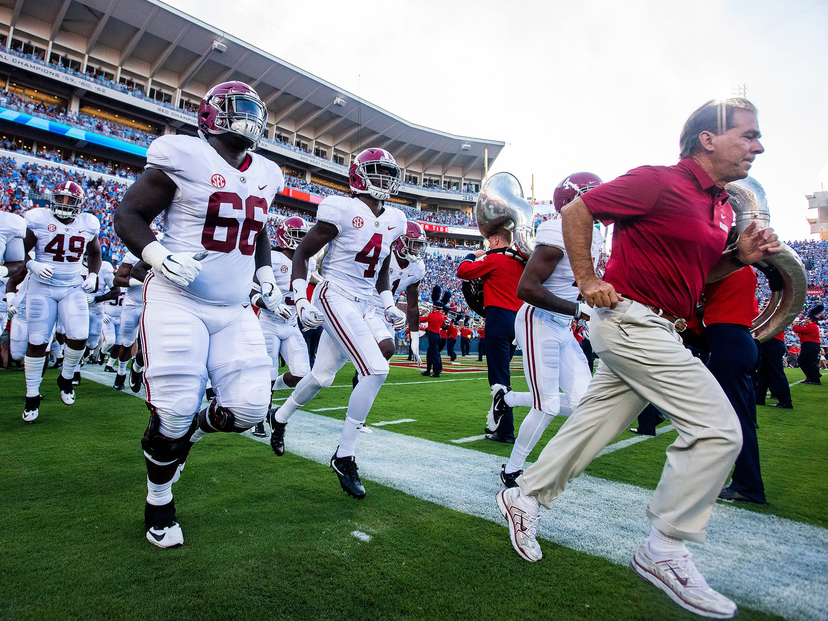 Alabama head coach Nick Saban lead his team onto the field against Ole Miss in Oxford, Ms., on Saturday September 15, 2018.