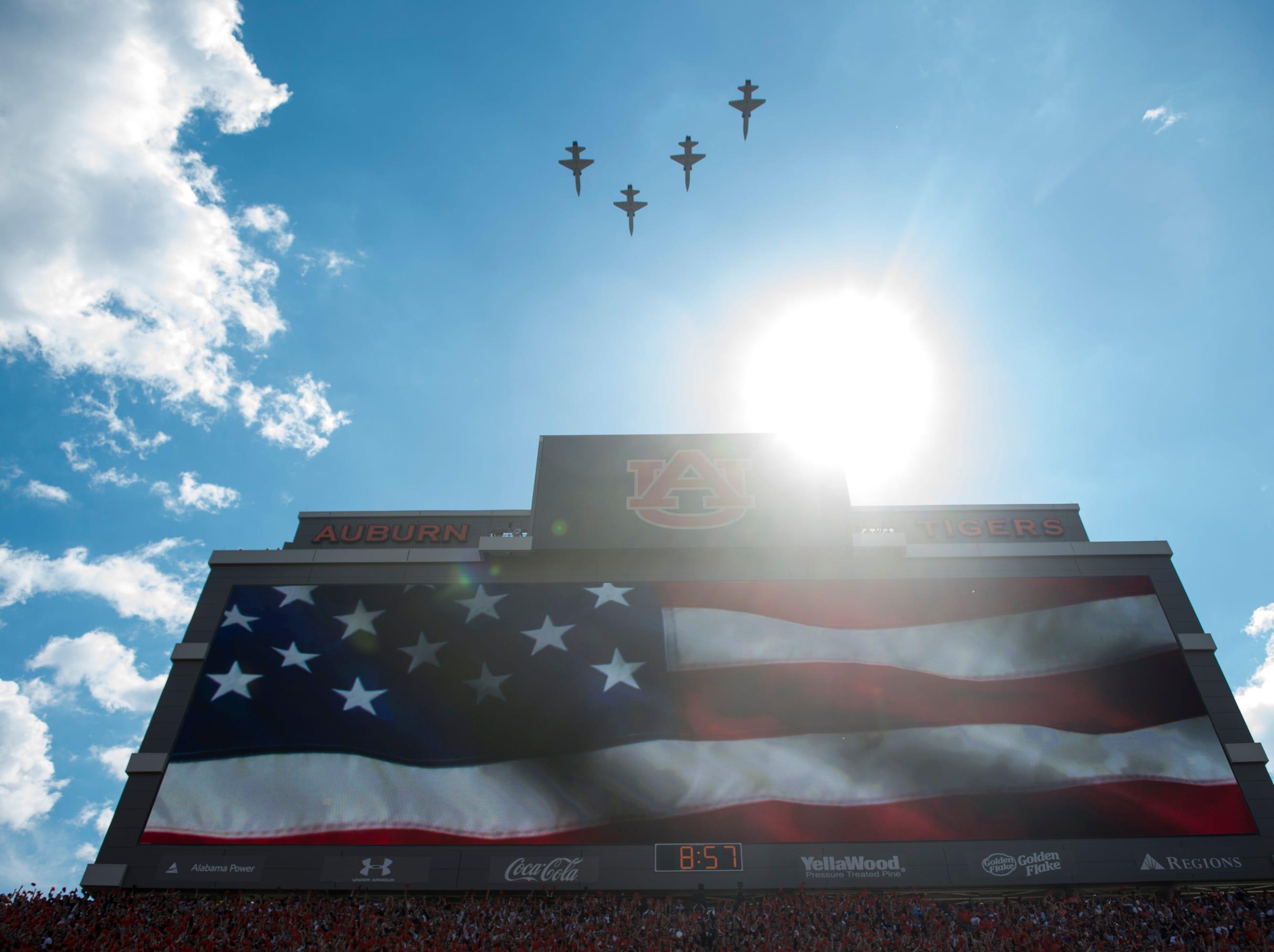 Jets fly over the stadium before Auburn takes on LSU at Jordan-Hare Stadium in Auburn, Ala., on Saturday, Sept. 15, 2018. LSU defeated Auburn 22-21.