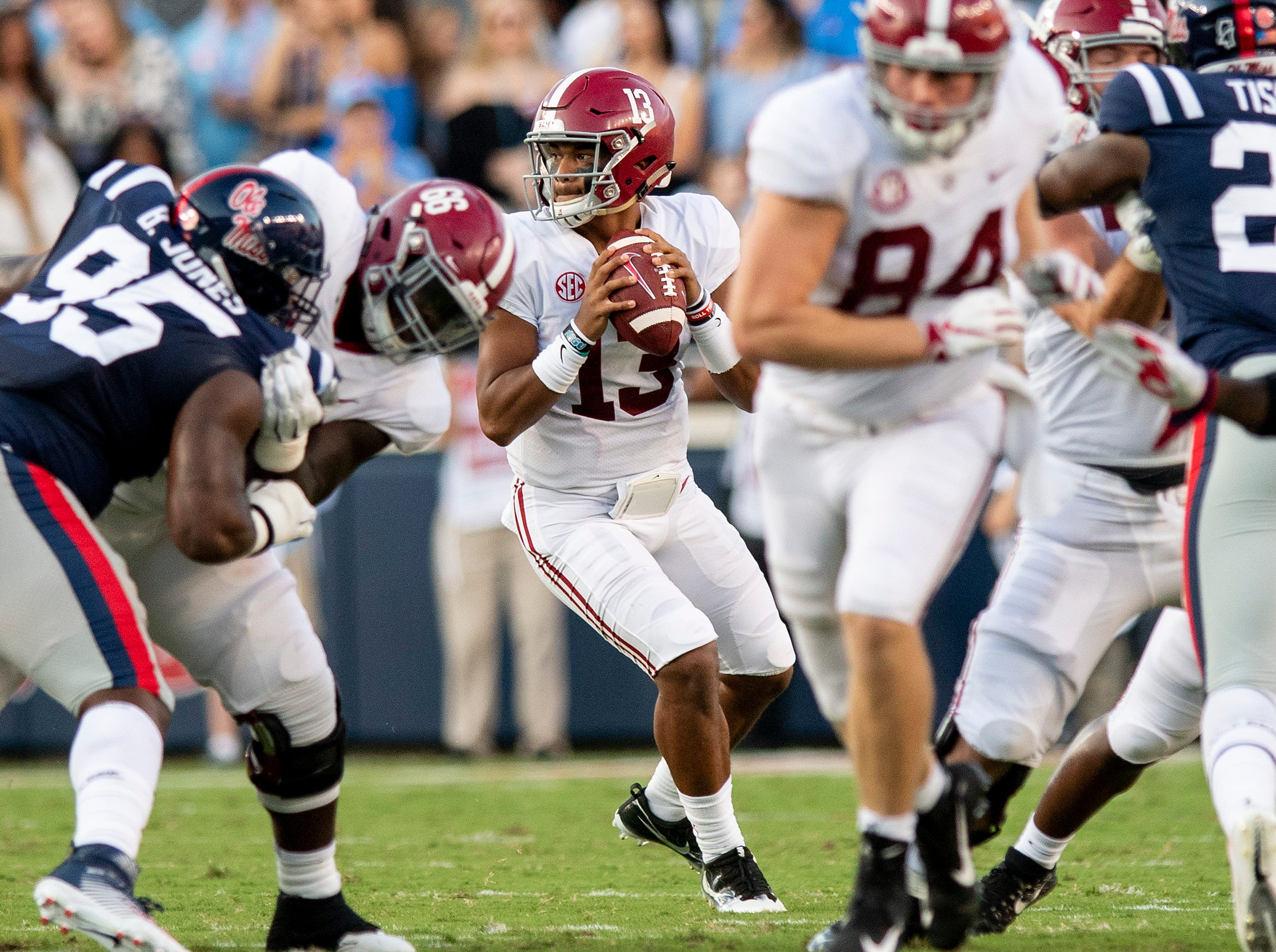Alabama quarterback Tua Tagovailoa (13) looks to throw against Ole Miss In first half action in Oxford, Ms., on Saturday September 15, 2018.