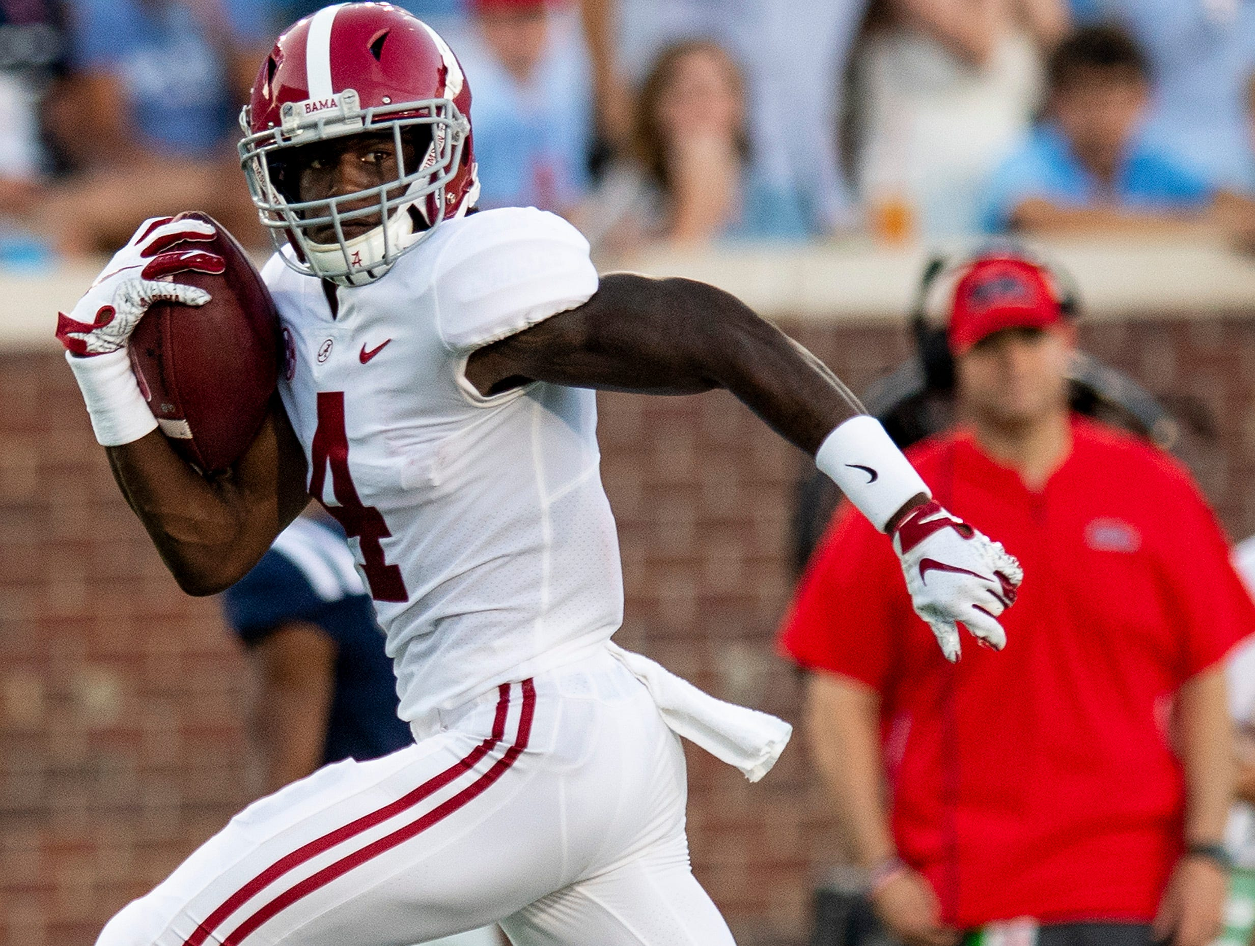 Alabama wide receiver Jerry Jeudy (4) scores a touchdown against Ole Miss In first half action in Oxford, Ms., on Saturday September 15, 2018.