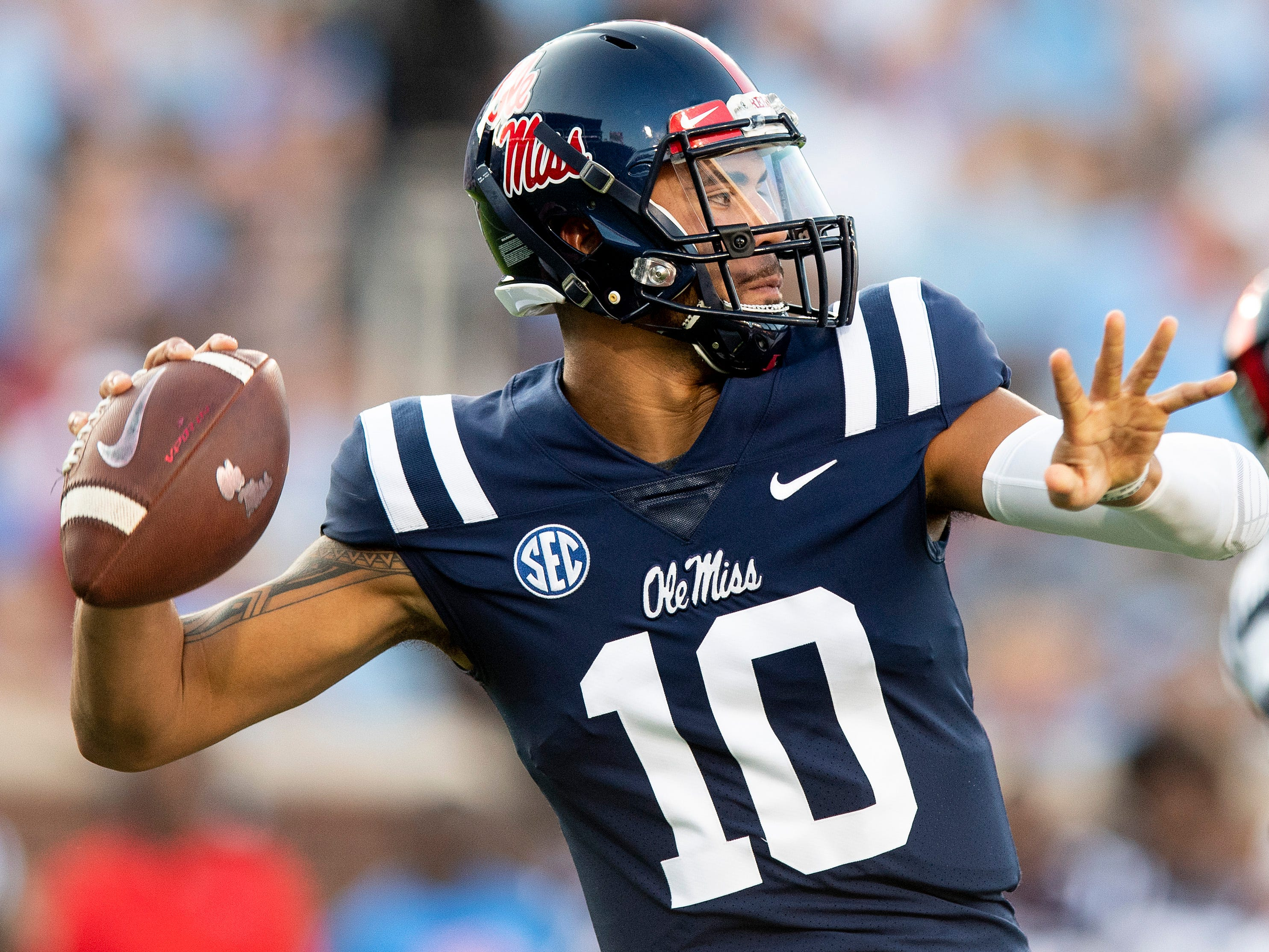 Ole Miss quarterback Jordan Ta'amu (10) throws against Alabama in first half action in Oxford, Ms., on Saturday September 15, 2018.