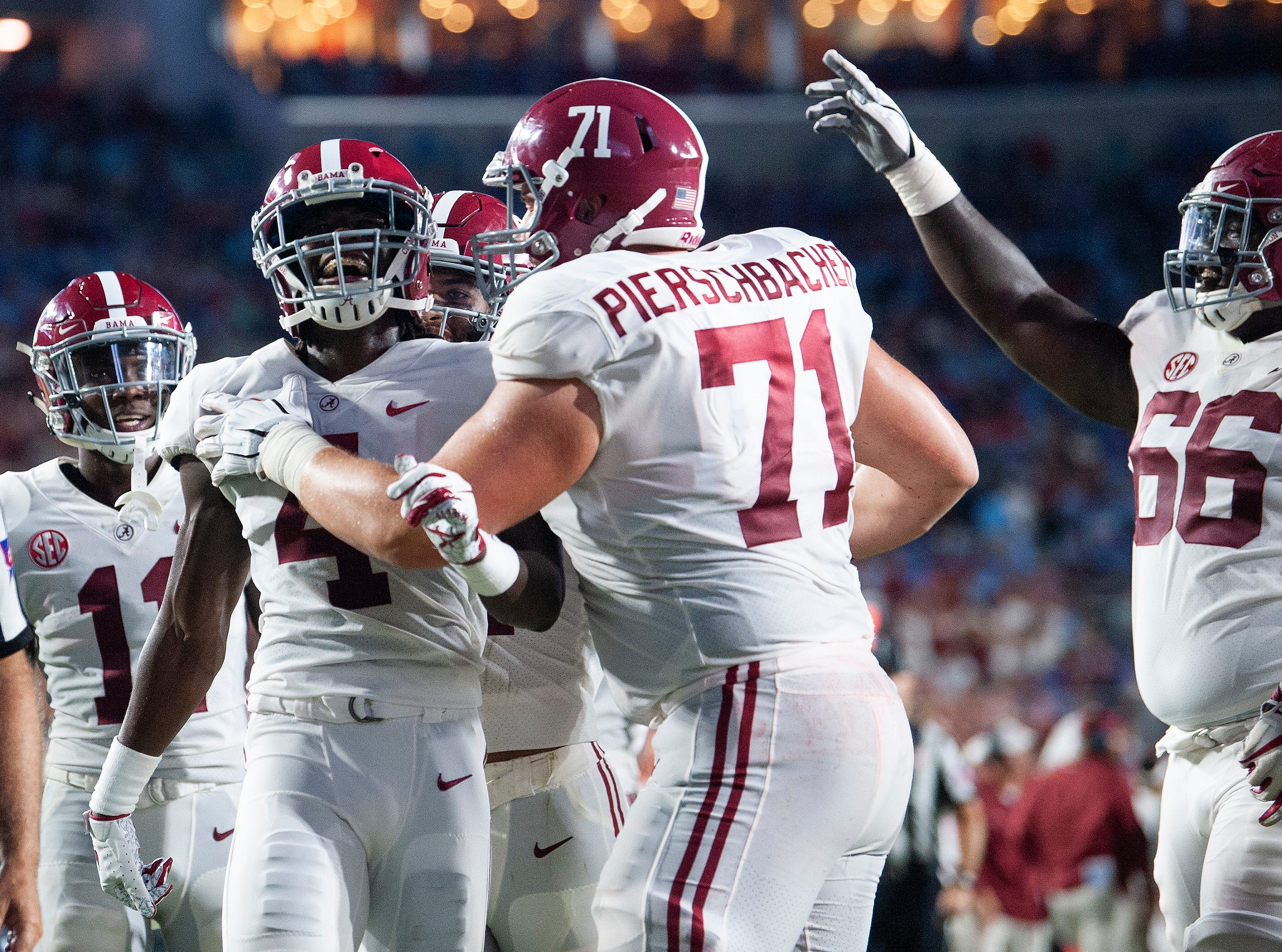 Alabama wide receiver Jerry Jeudy (4) celebrates a touchdown against Ole Miss in first half action in Oxford, Ms., on Saturday September 15, 2018.