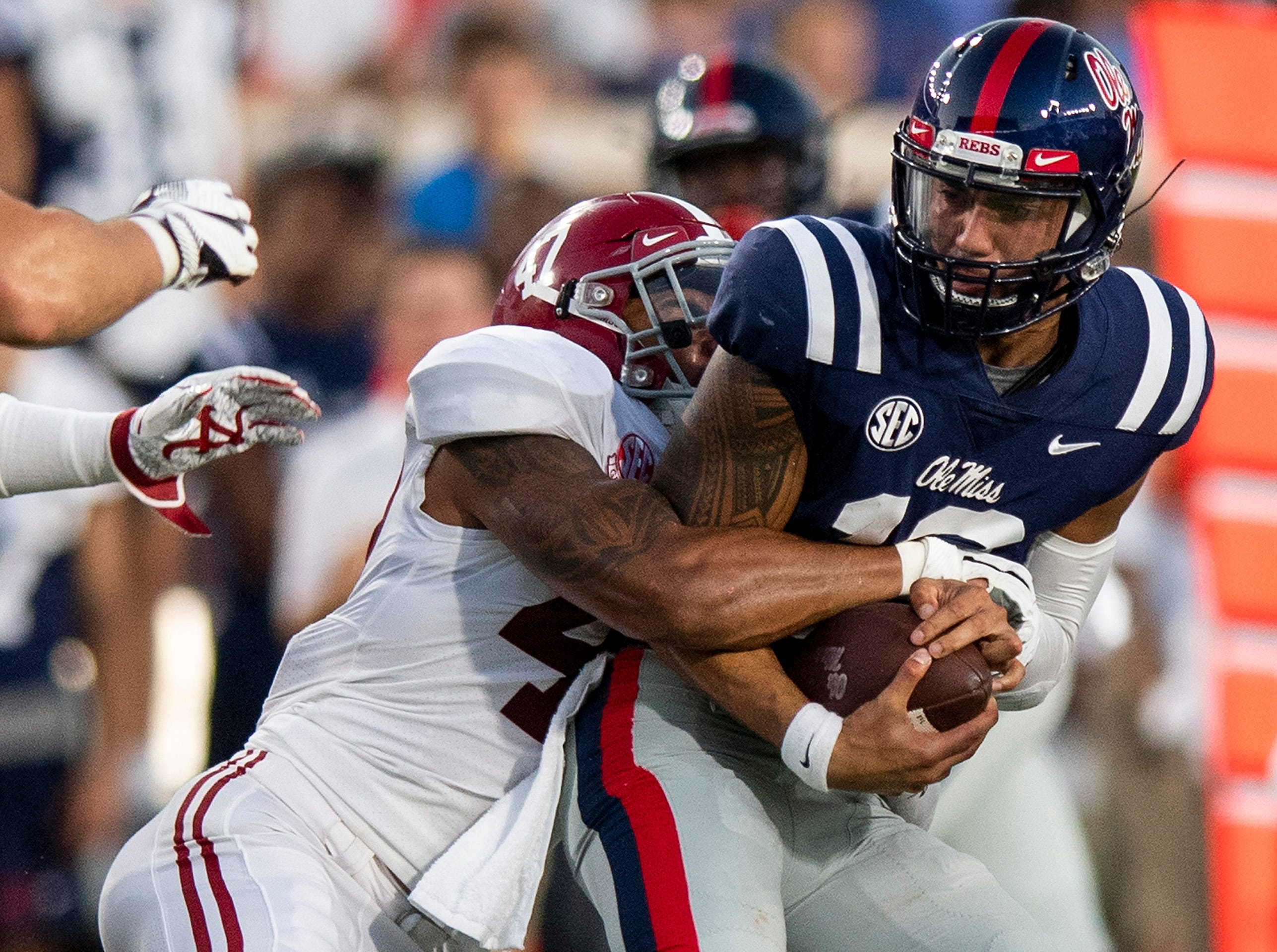 Alabama linebacker Christian Miller (47) sacks Ole Miss quarterback Jordan Ta'amu (10) In first half action in Oxford, Ms., on Saturday September 15, 2018.