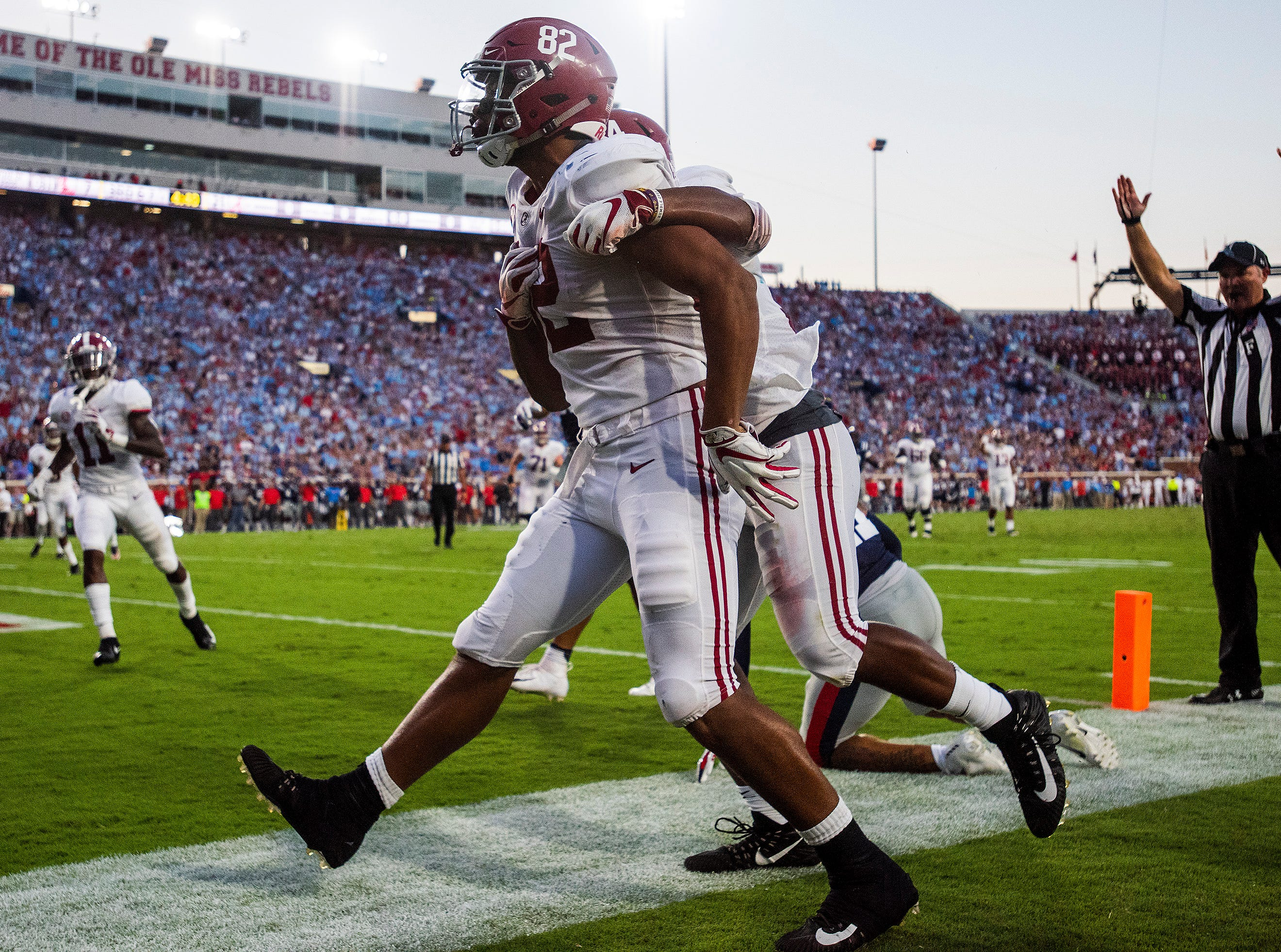 Alabama tight end Irv Smith Jr. (82) celebrates a touchdown reception against Ole Miss In first half action in Oxford, Ms., on Saturday September 15, 2018.