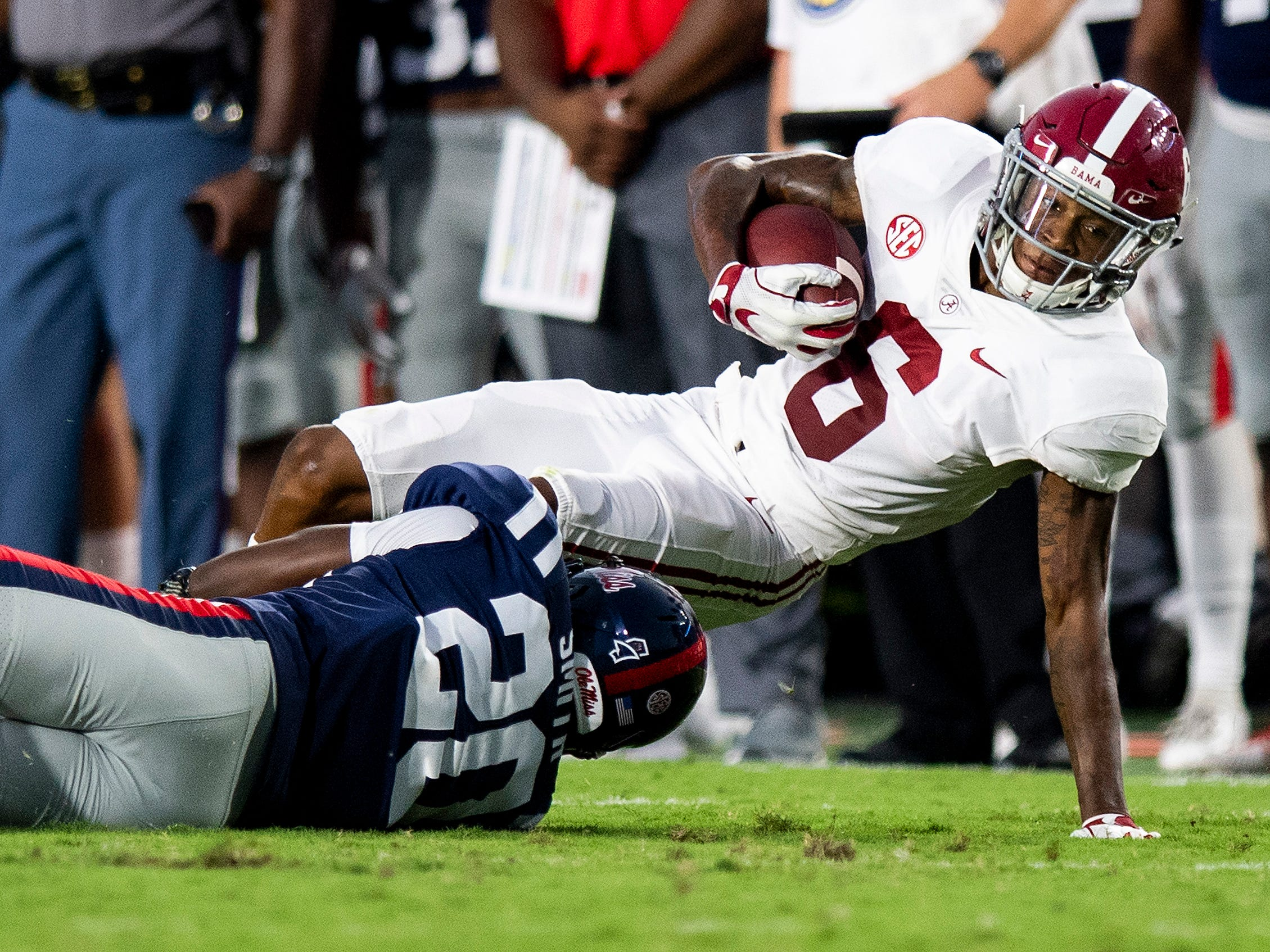 Alabama wide receiver DeVonta Smith (6) against Ole Miss defensive back Keidron Smith (20) In first half action in Oxford, Ms., on Saturday September 15, 2018.