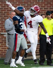 Alabama wide receiver Jerry Jeudy (4) celebrates after scoring a touchdown in first half action in Oxford, Ms., on Saturday September 15, 2018.