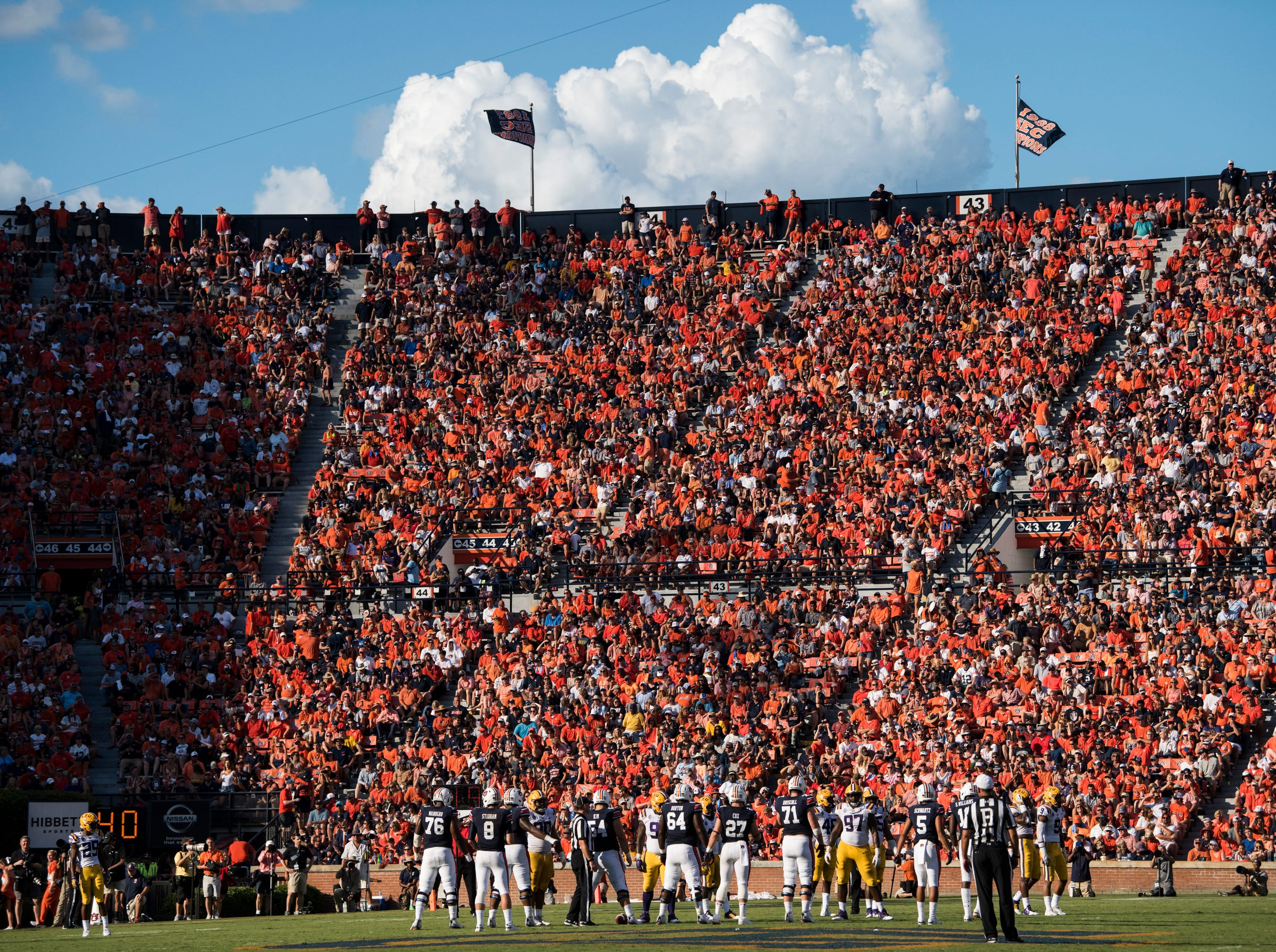Auburn takes the field against LSU at Jordan-Hare Stadium in Auburn, Ala., on Saturday, Sept. 15, 2018. LSU defeated Auburn 22-21.