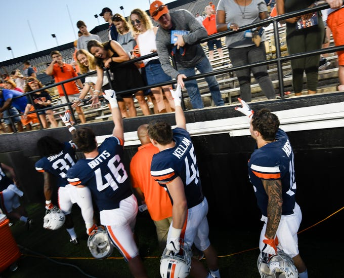 Virginia players thank their fans for coming to their game against the Ohio at Vanderbilt Stadium Saturday, Sept. 15, 2018, in Nashville, Tenn. Their game was moved from Virginia to Tennessee to avoid the effects of Hurricane Florence.