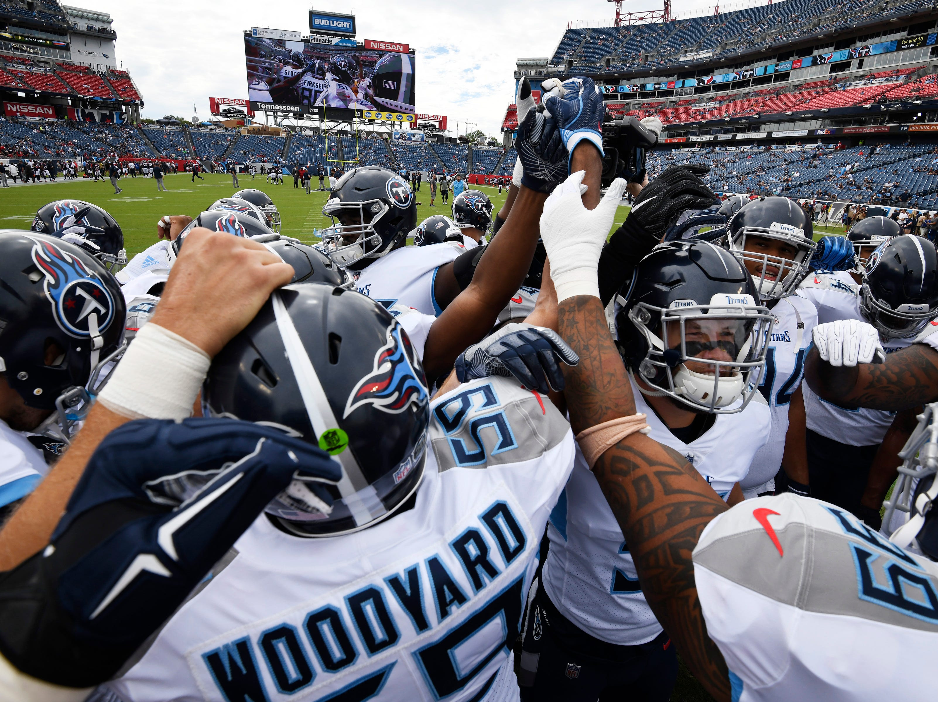 The Titans huddle before the game against the Texans at Nissan Stadium Sunday, Sept. 16, 2018, in Nashville, Tenn.