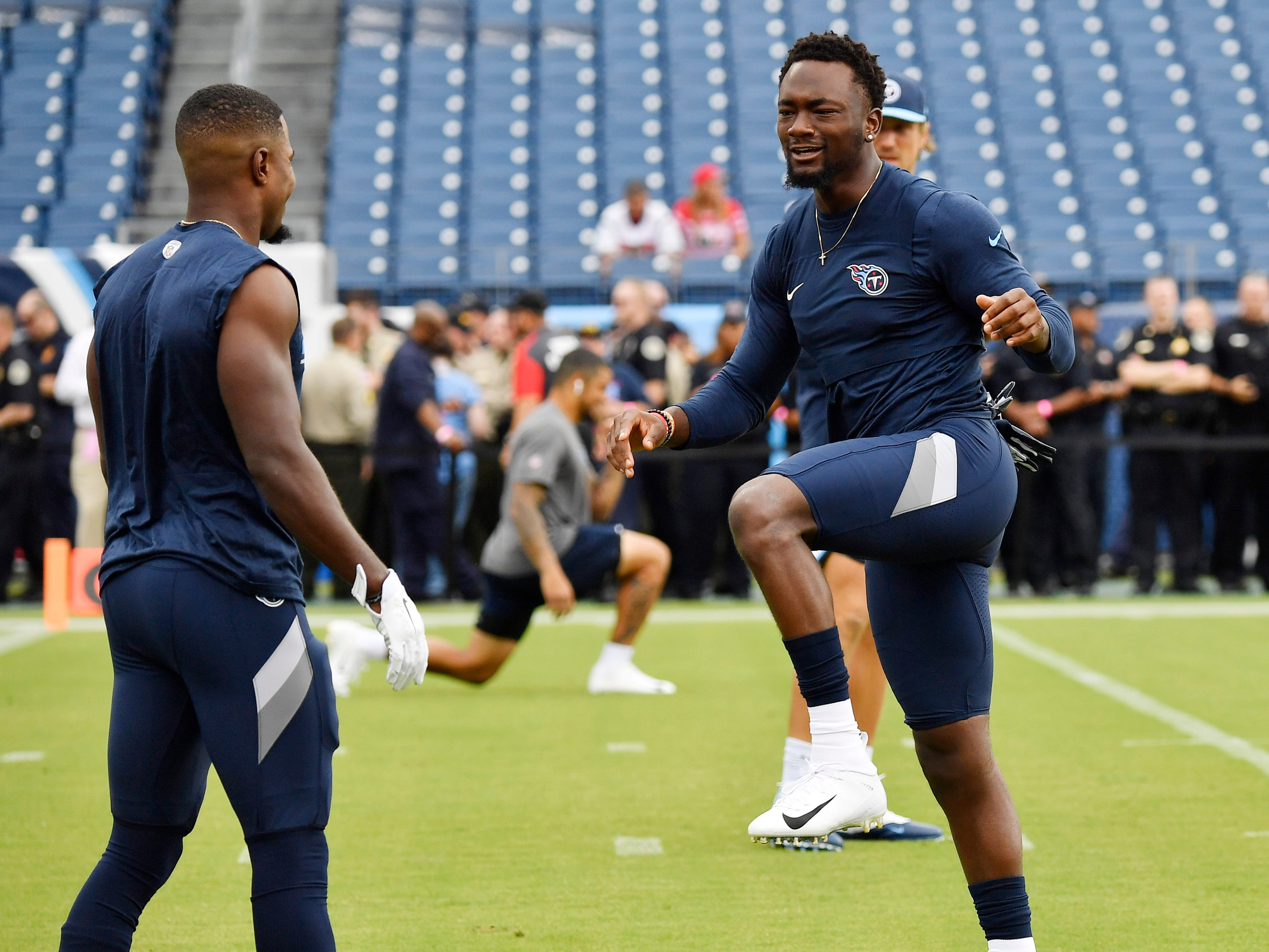Titans wide receiver Corey Davis (84) warms up before the game against the Texans at Nissan Stadium Sunday, Sept. 16, 2018, in Nashville, Tenn.