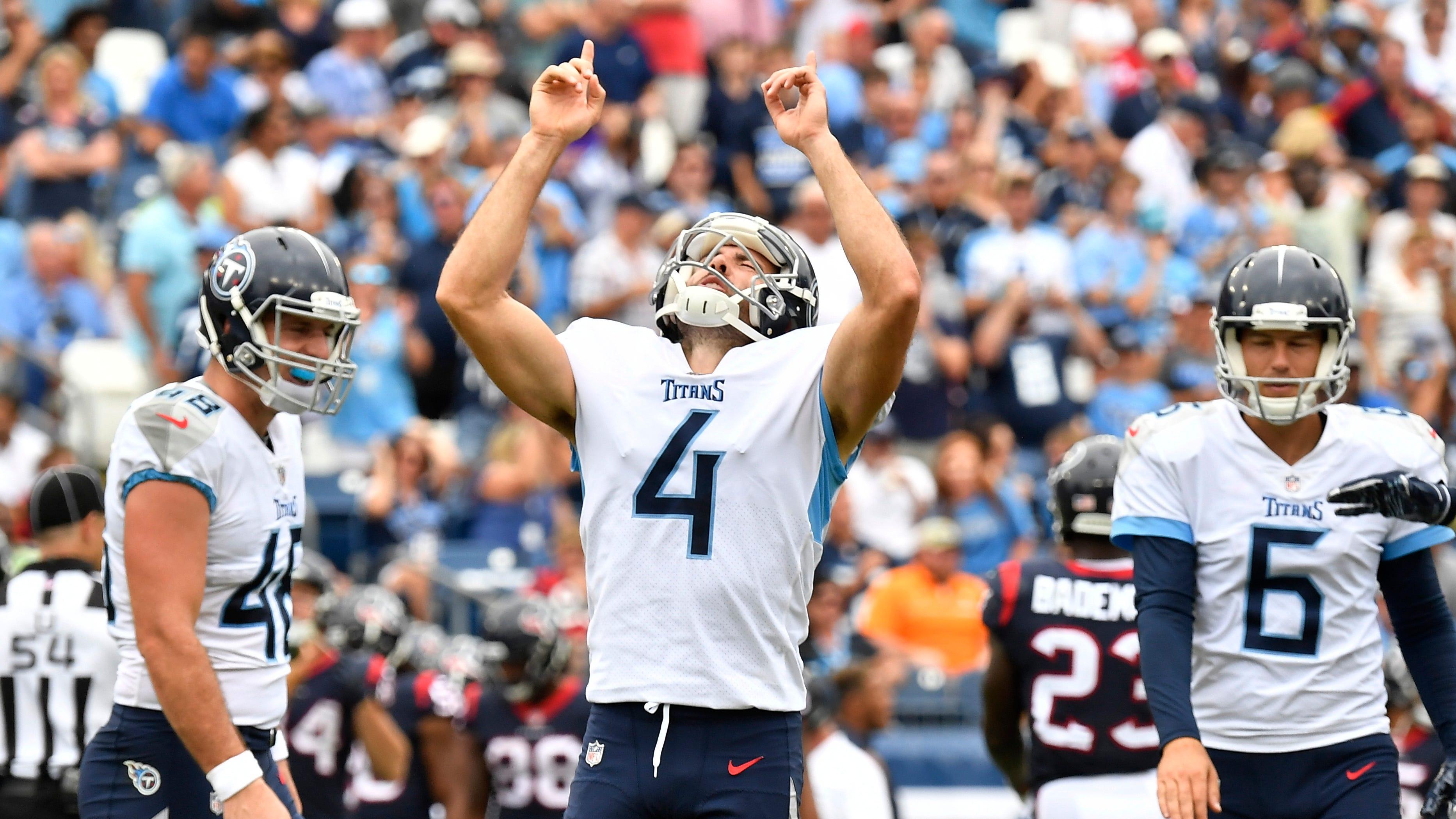 Titans place kicker Ryan Succop (4) celebrates...