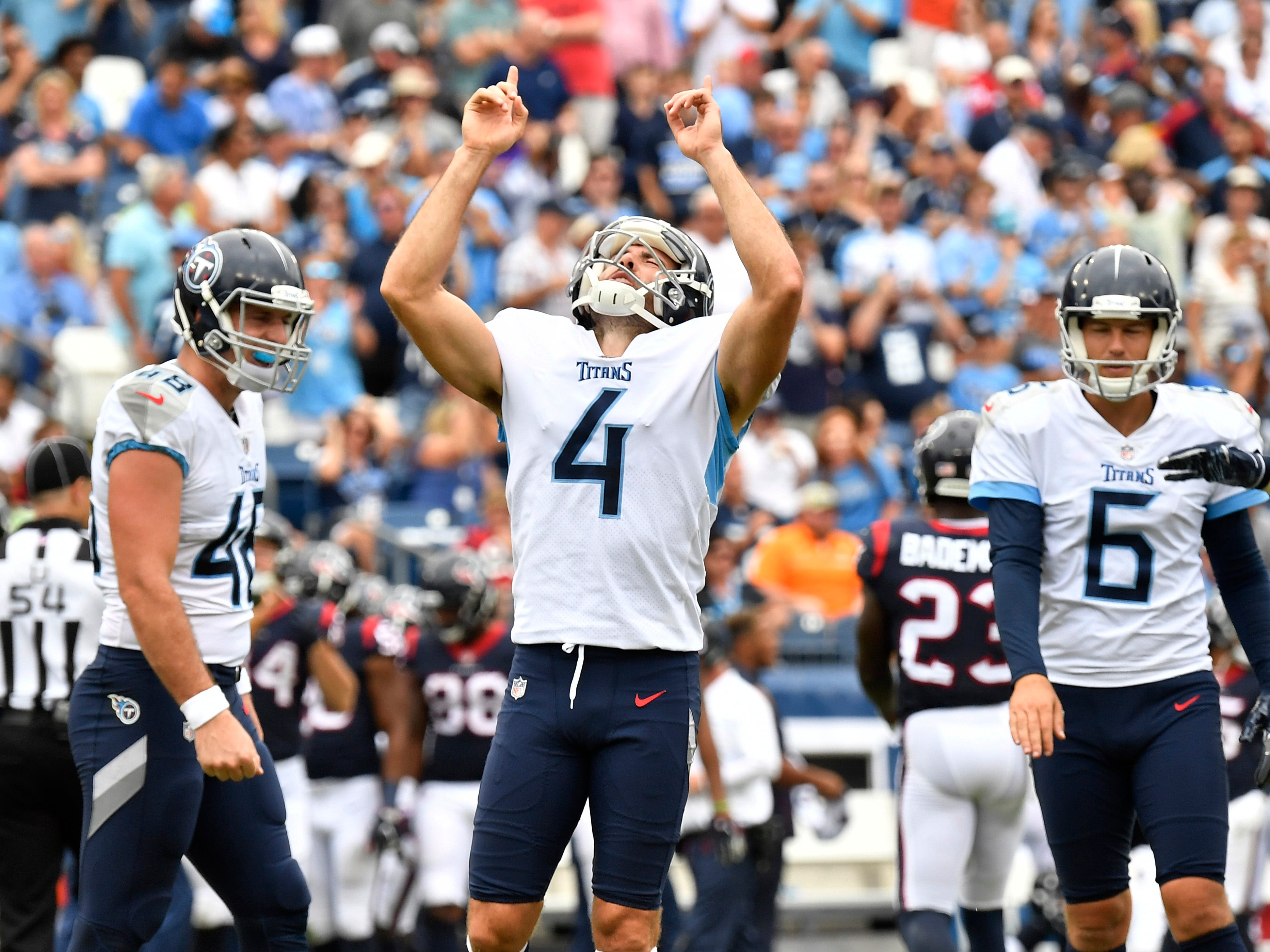 Titans place kicker Ryan Succop (4) celebrates his game-winning field goal to beat the Texans, 20-17, at Nissan Stadium Sunday, Sept. 16, 2018, in Nashville, Tenn.